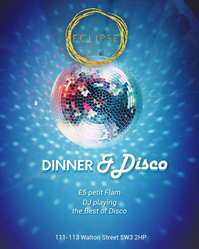 It's Party time at Eclipse Chelsea, join us for Dinner&Disco tonight with unique food, great cocktails and the best of Disco from our resident DJ! 🔮🍸🍾🍉 #dinner&disco #disco #cocktail #cocktails #cocktails🍹#cocktailbar #drinks #bar #drink #mixology #bartender #instagood #party #drinkup #photooftheday #gin #EclipseChelsea #bestbars
