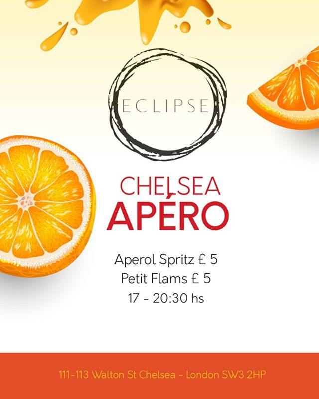 We love the summer! Join us from 5 for the perfect after work drink, Aperol and Flam both just £5 each.  #ChelseaAp #AperolSpritz #Flam #cocktail #cocktails #cocktails🍹#cocktailbar #drinks #bar #drink #mixology #bartender #instagood #party #drinkup #photooftheday #gin #EclipseChelsea #bestbars #aperolspritz