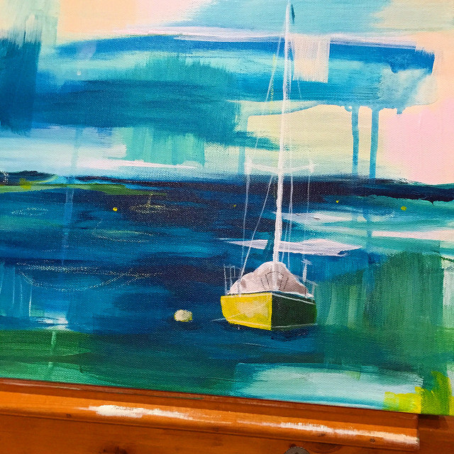 Here is the start of my next painting featuring boats!