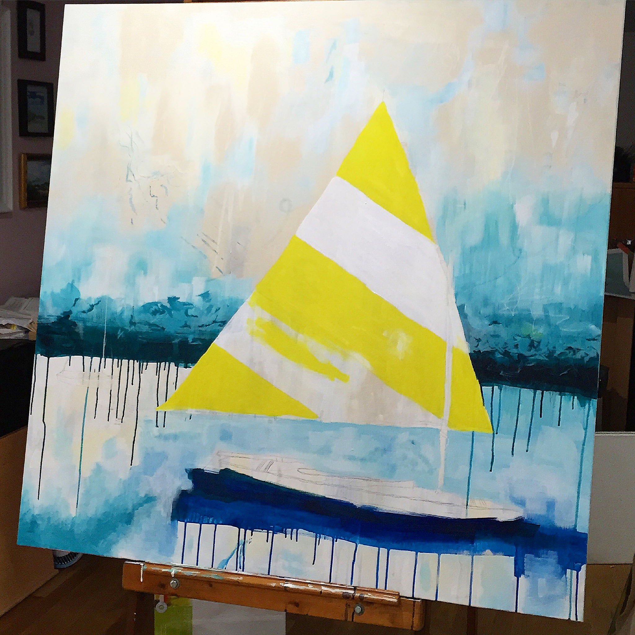 Maine boat painting process by Megan Carty