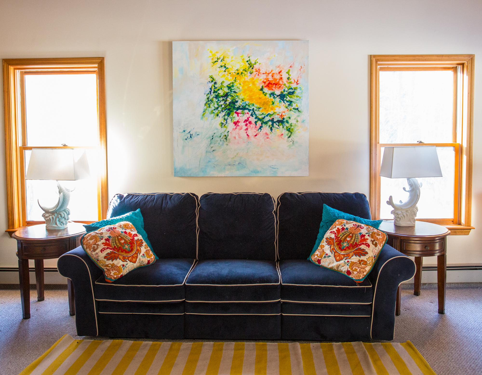 colorful happy large abstract painting by artist Megan Carty