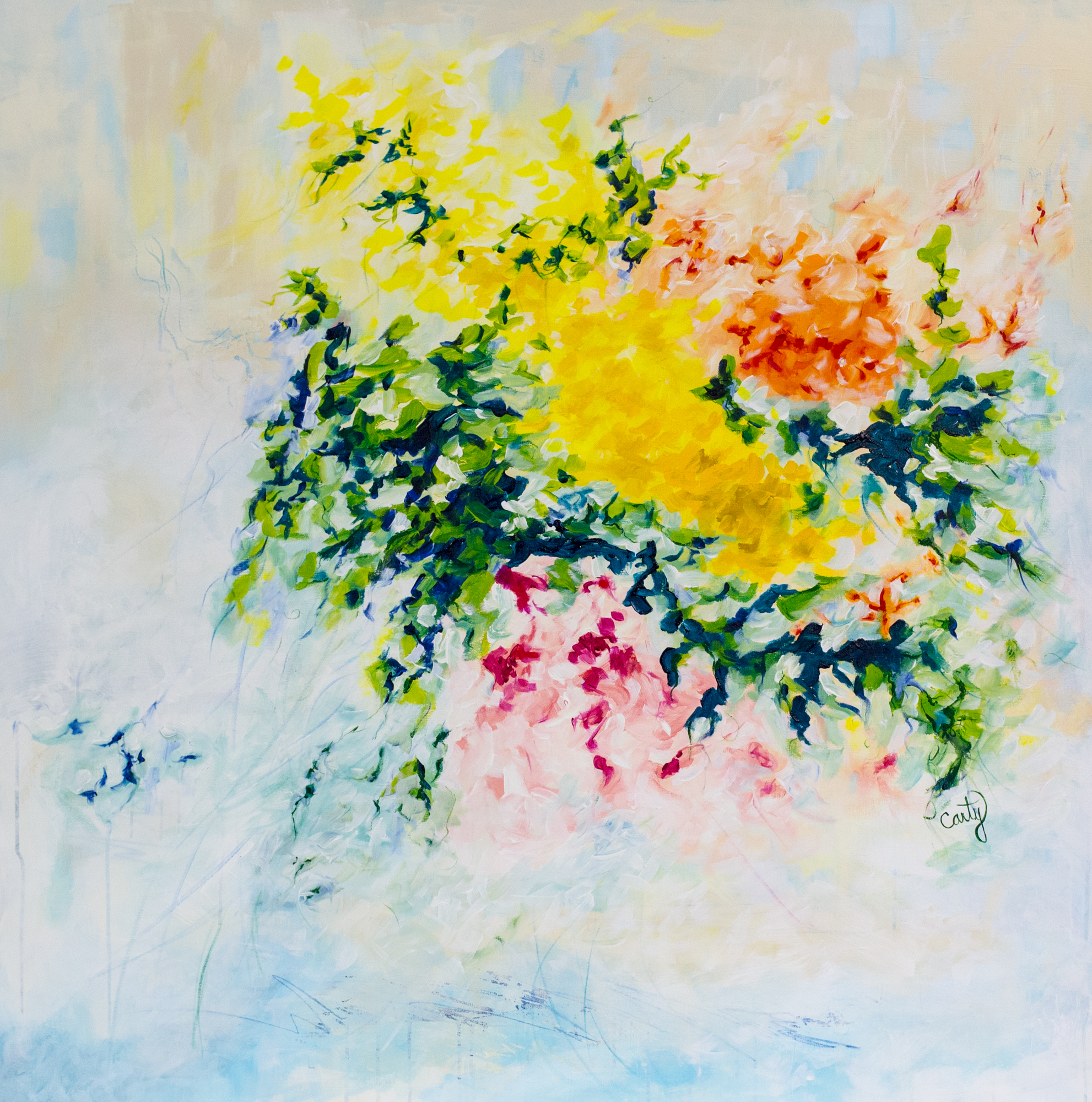 Cheerful Vibrant Floral Abstract Painting by Boston-based artist Megan Carty