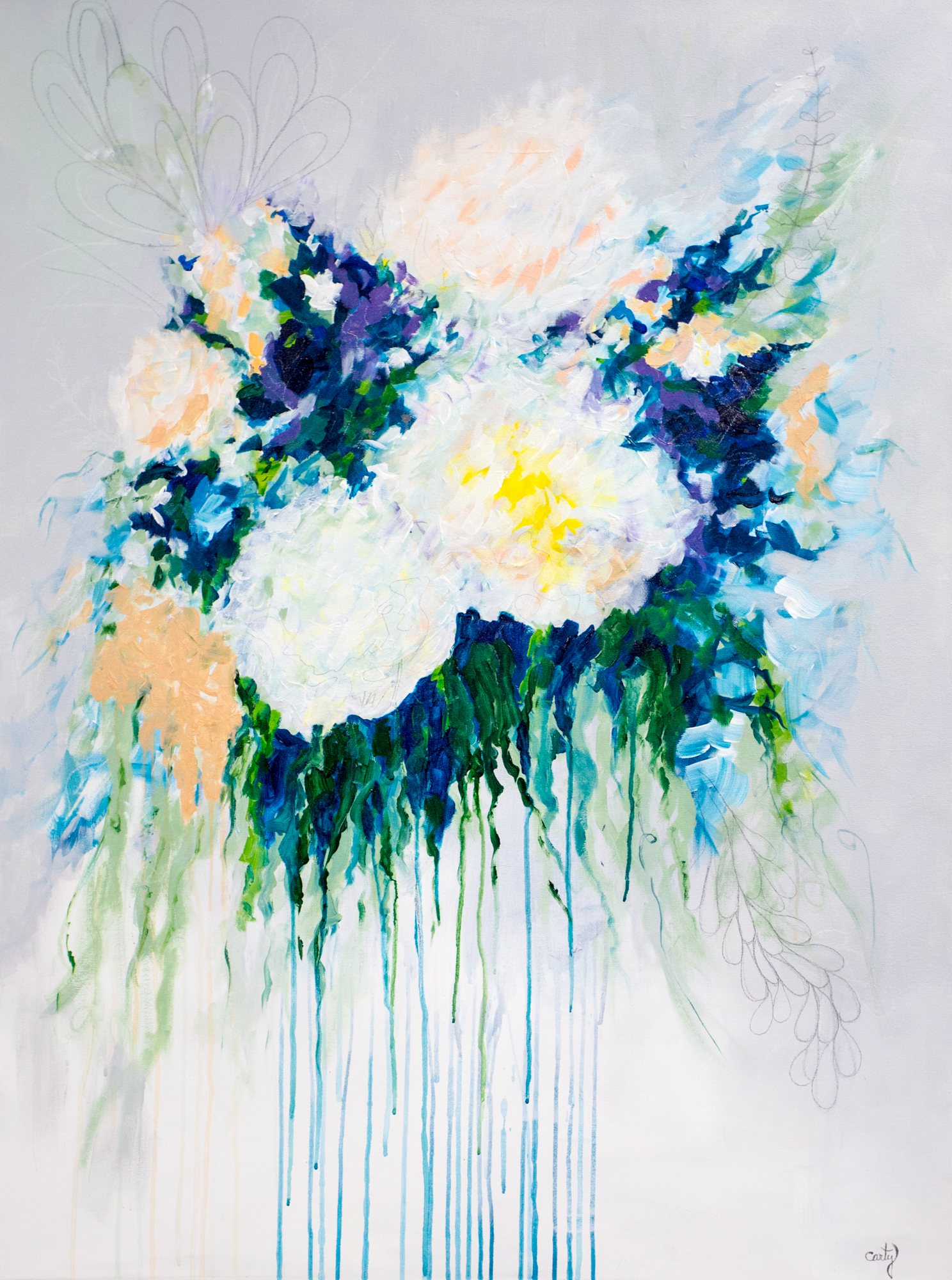 Bridal Bouquet Painting by Megan Carty
