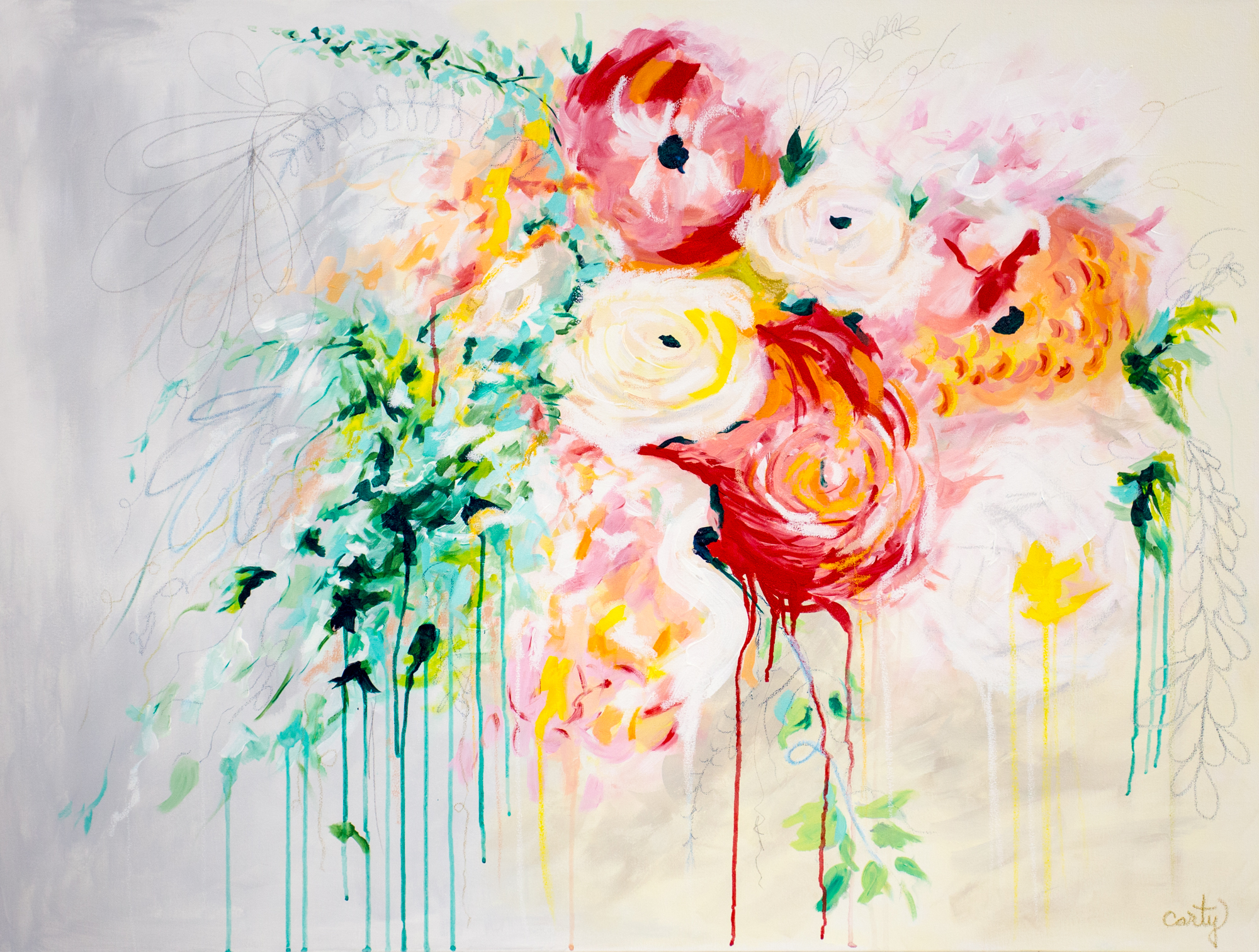 Bespoke wedding bouquet painting commission by megan carty