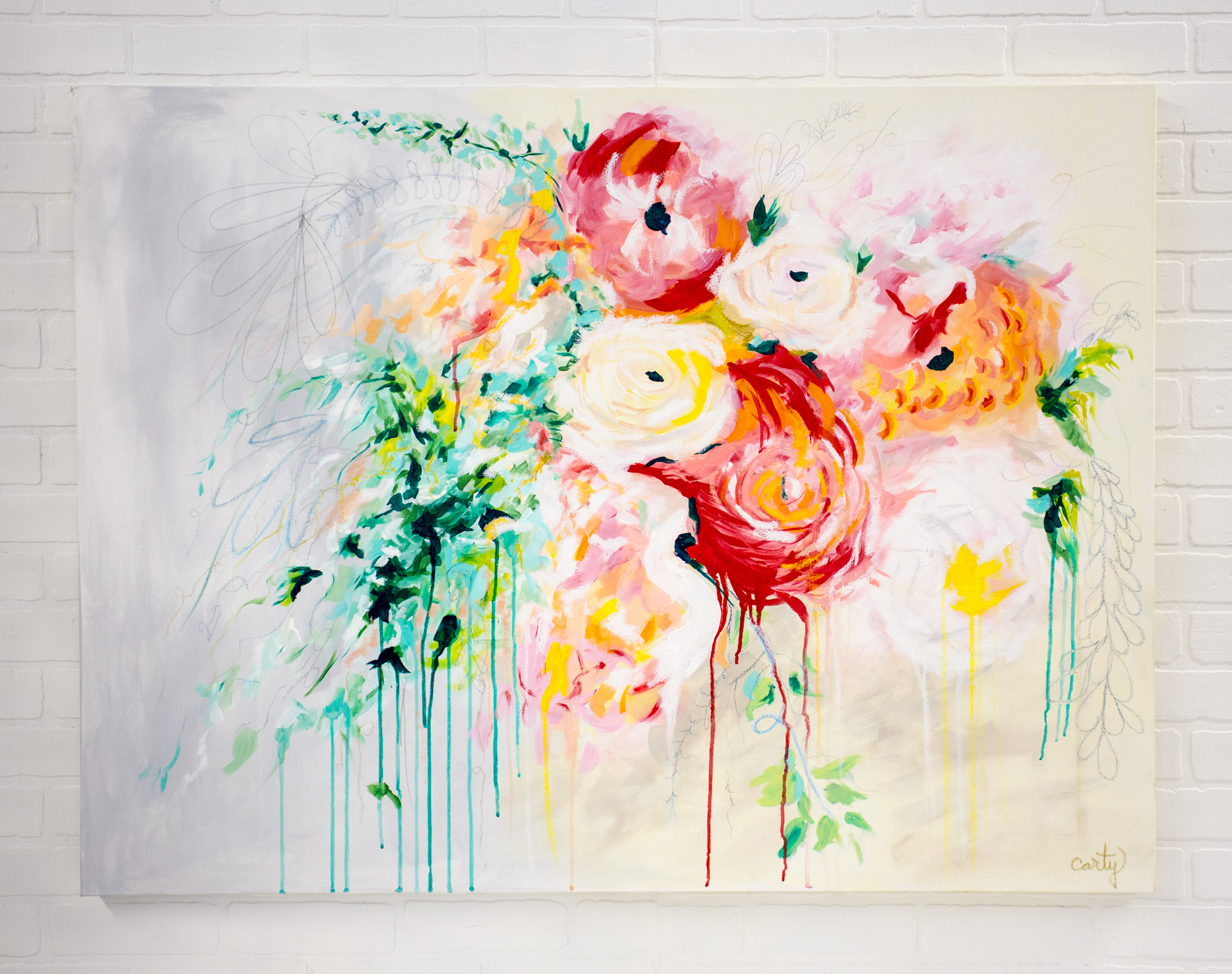 abstract floral painting by Megan Carty, as seen on Artfully Walls