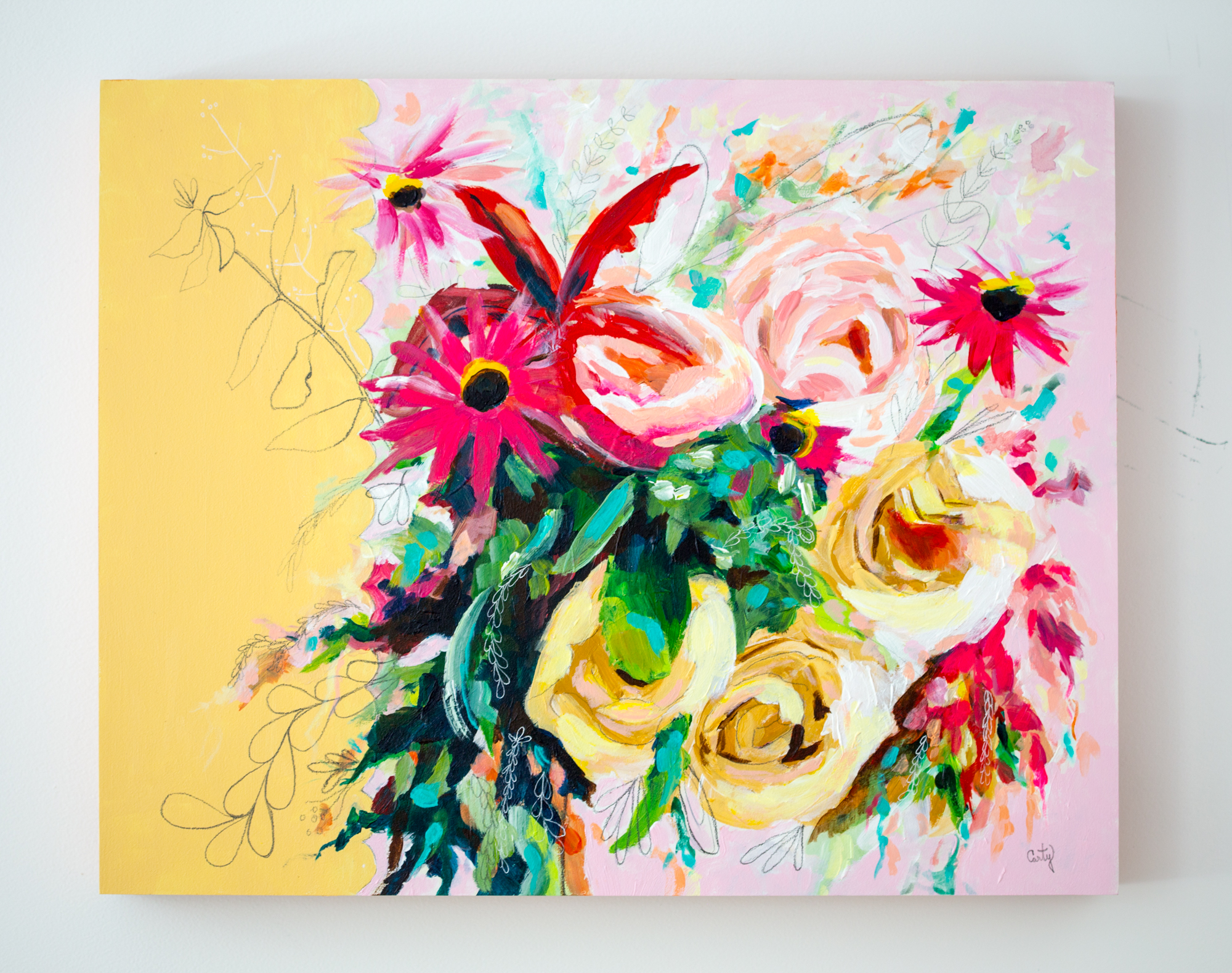 vintage inspired abstract floral painting by megan carty