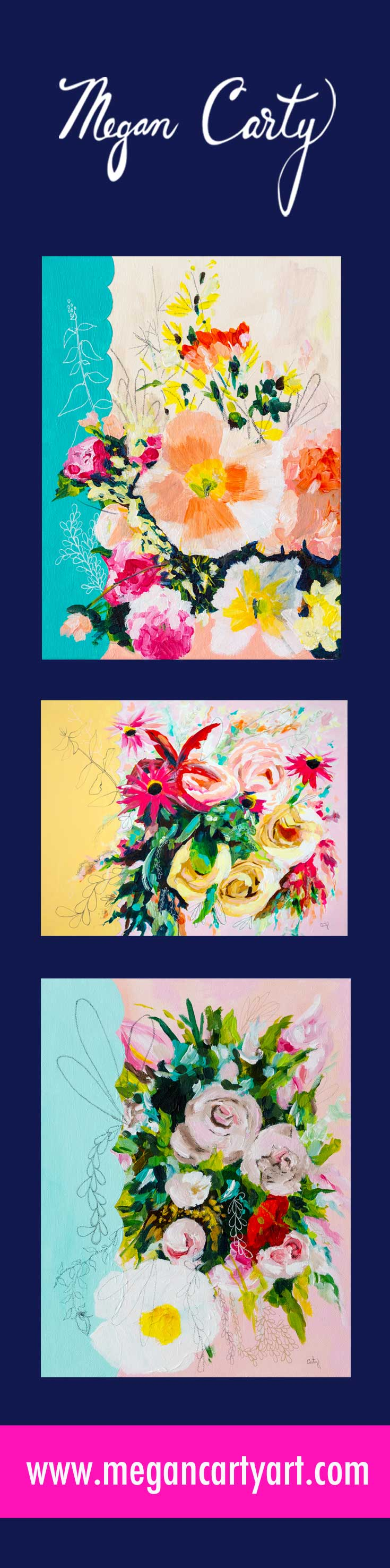 vintage-inspired abstract floral paintings by megan carty