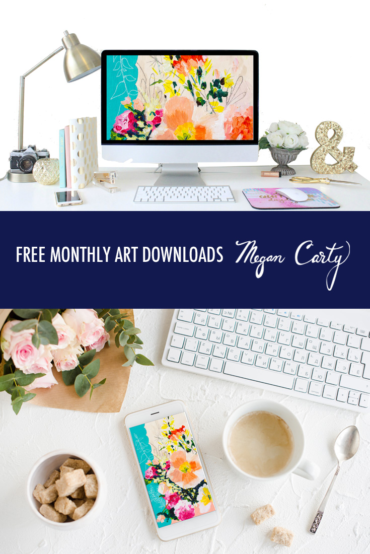 Vintage style floral painting, free art downloads by Megan Carty
