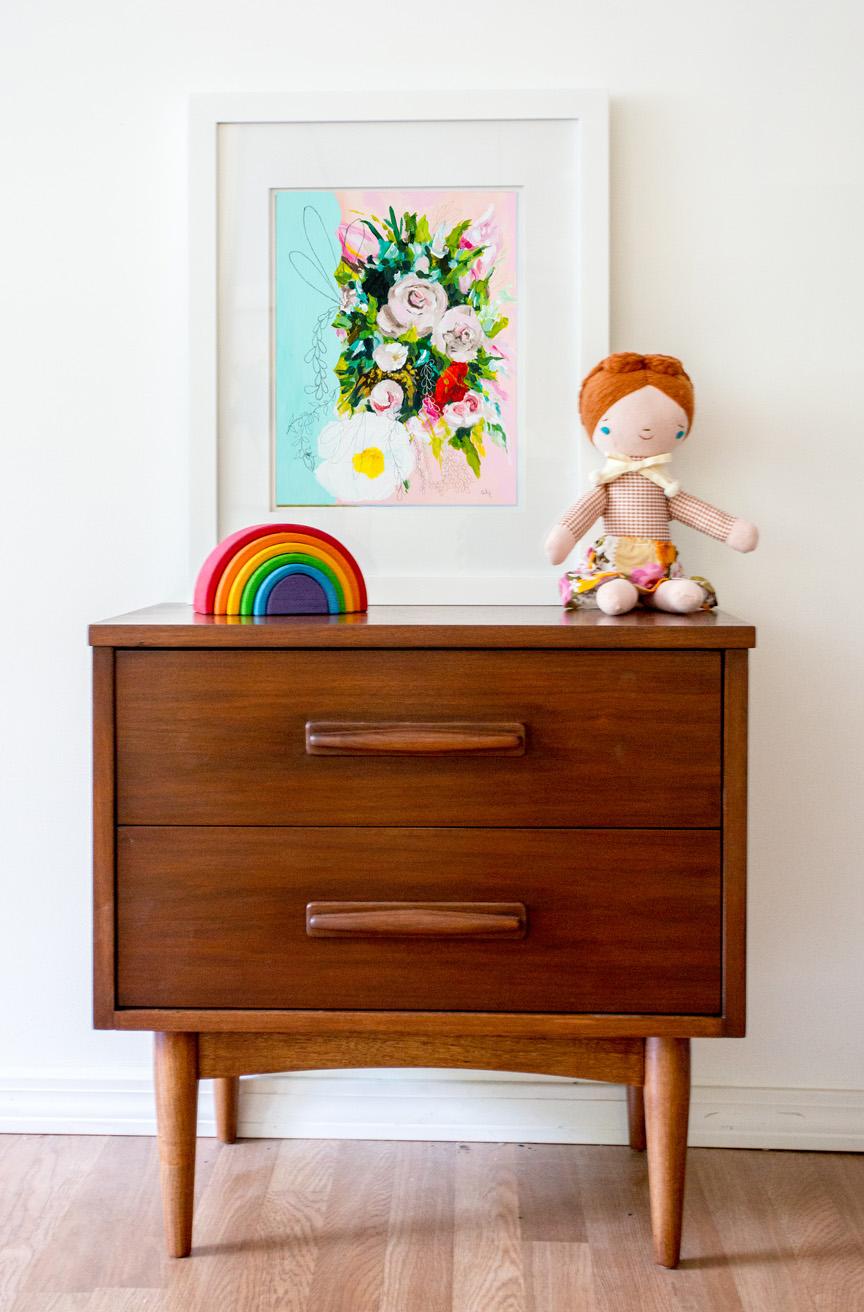vintage art print, floral art print, girls room art print, kids room art, nursery art print