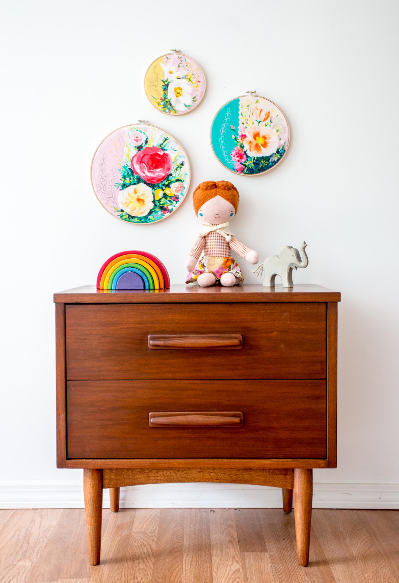 embroidery hoop art, original floral paintings by megan carty, mid-century nightstand style, nursery art