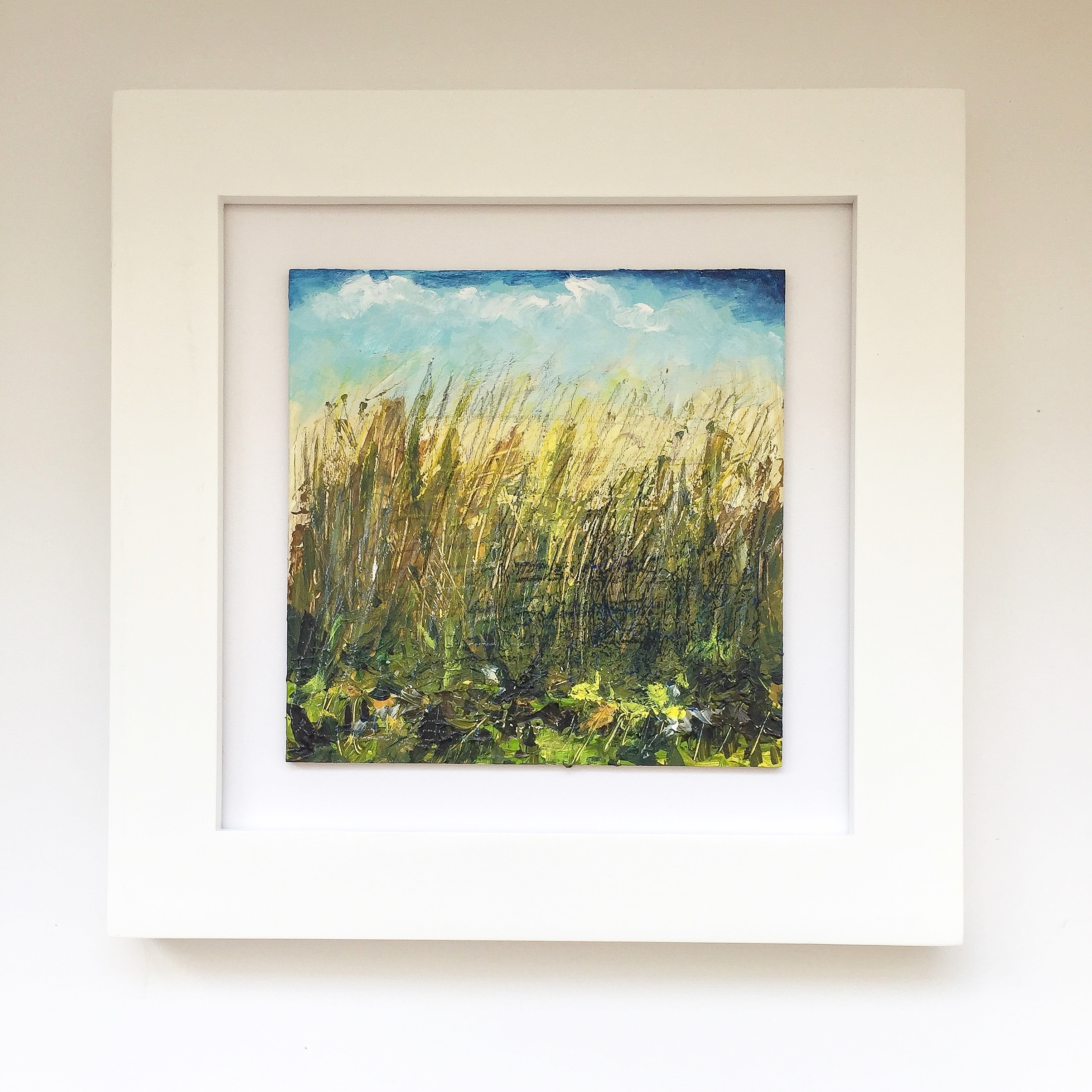 New England Contemporary Abstract Landscape Painting by Megan Carty, grass painting