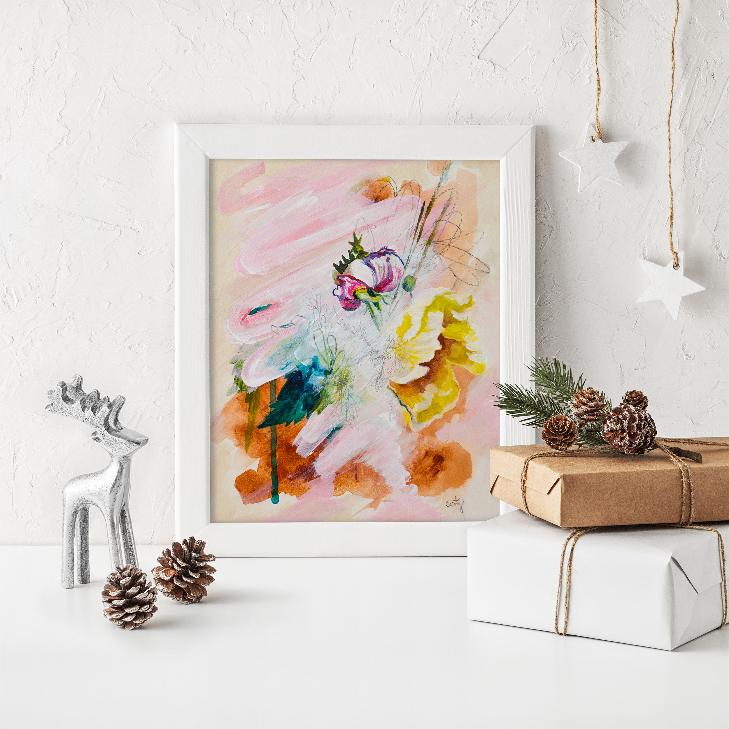 abstract floral art print by Megan Carty