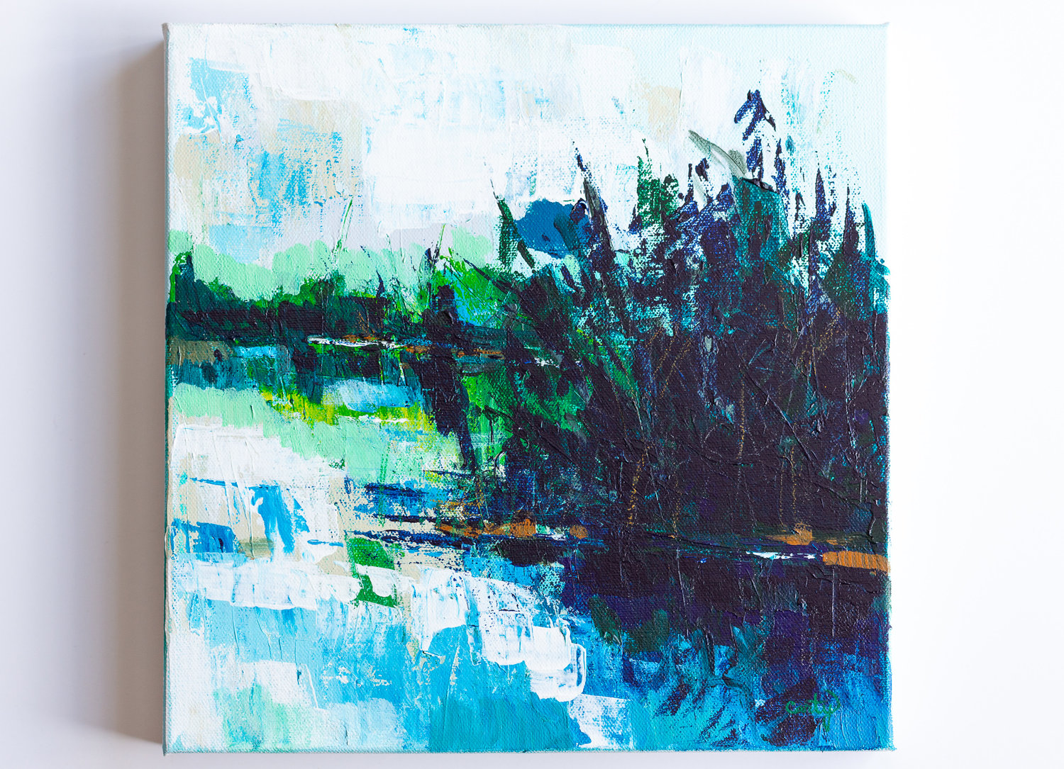 The Shallows 12x12 Abstract Landscape Painting Megan Carty Art