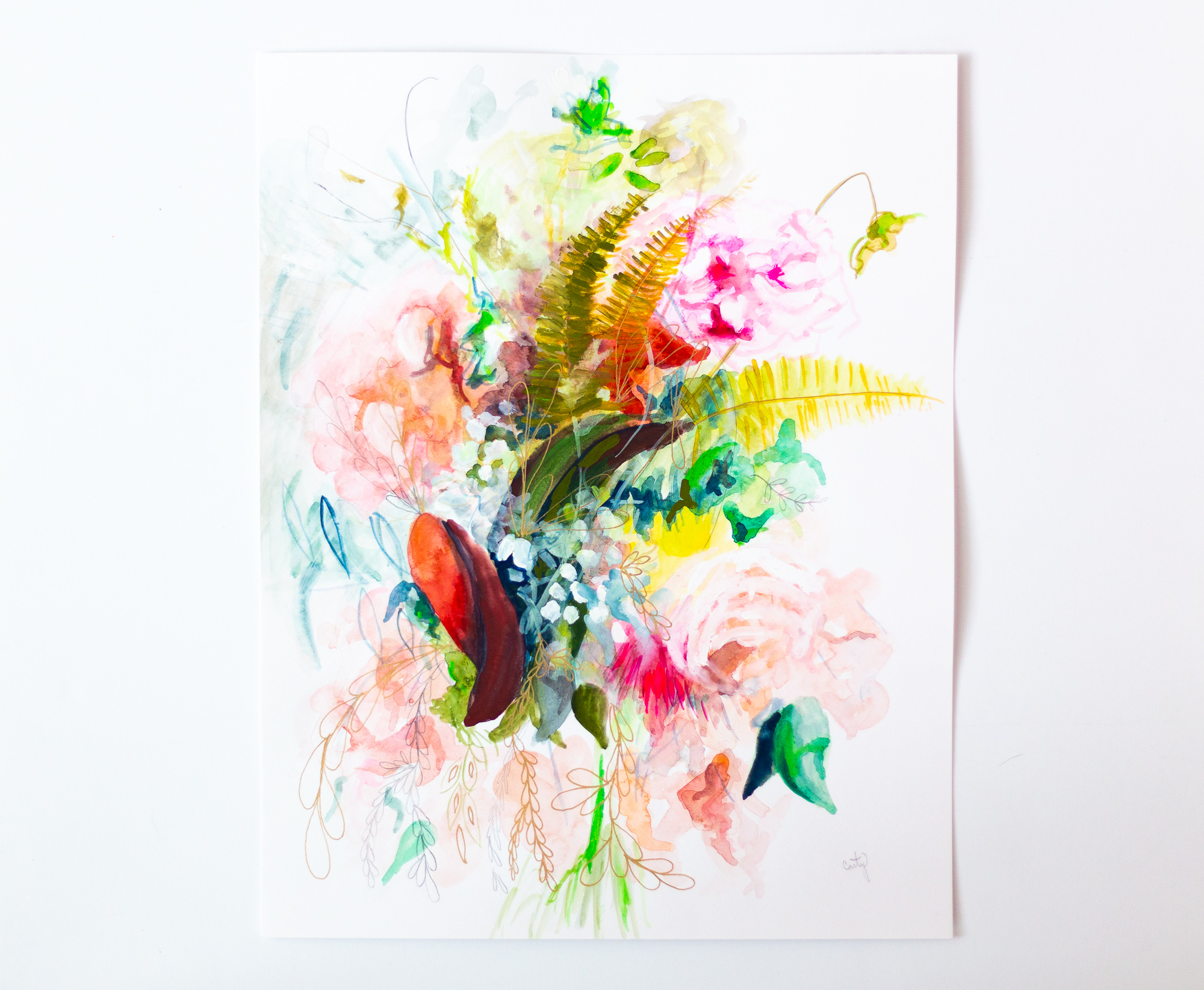 Abstract Floral Painting by Megan Carty