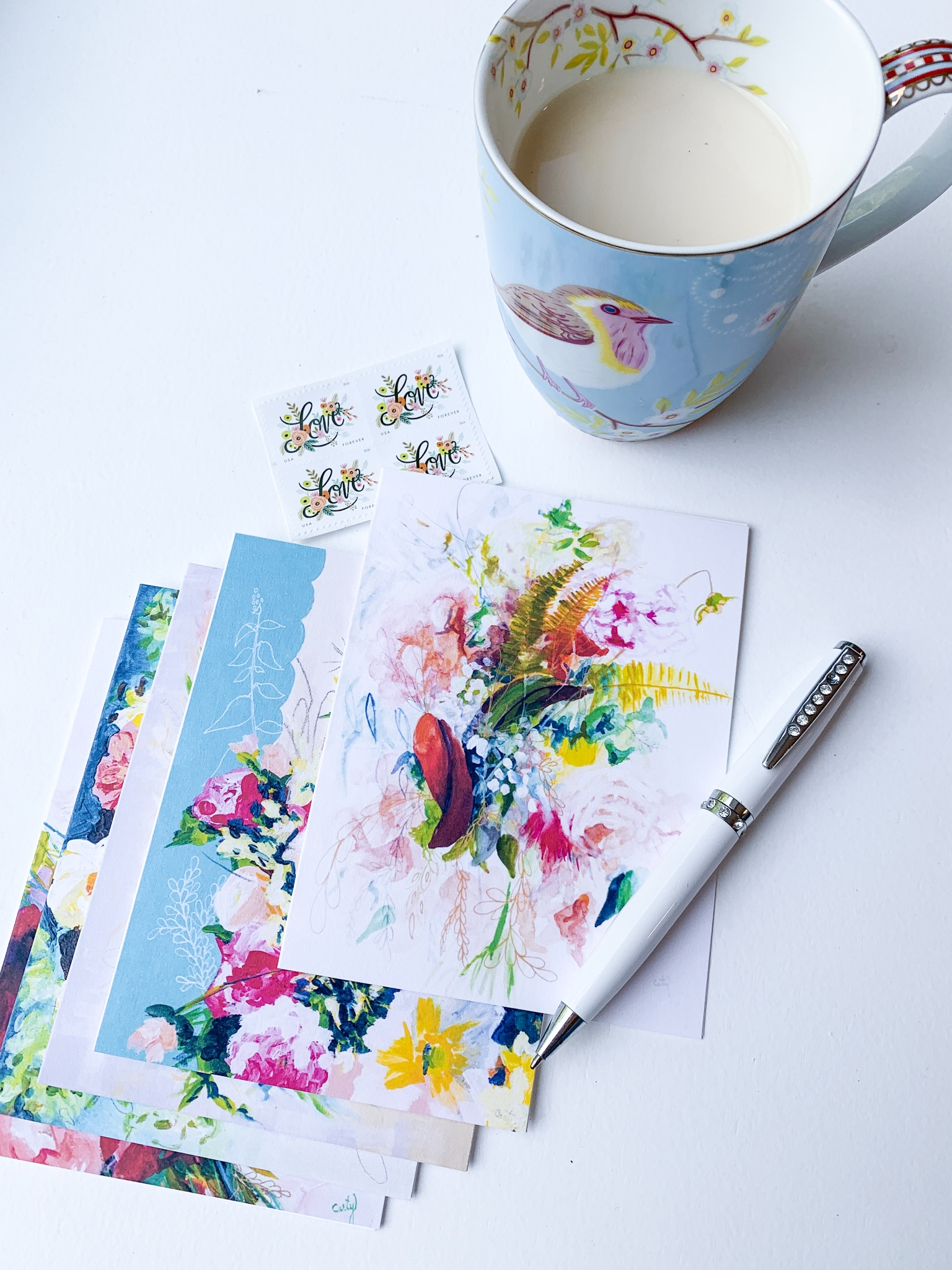 floral painting stationery by Megan Carty