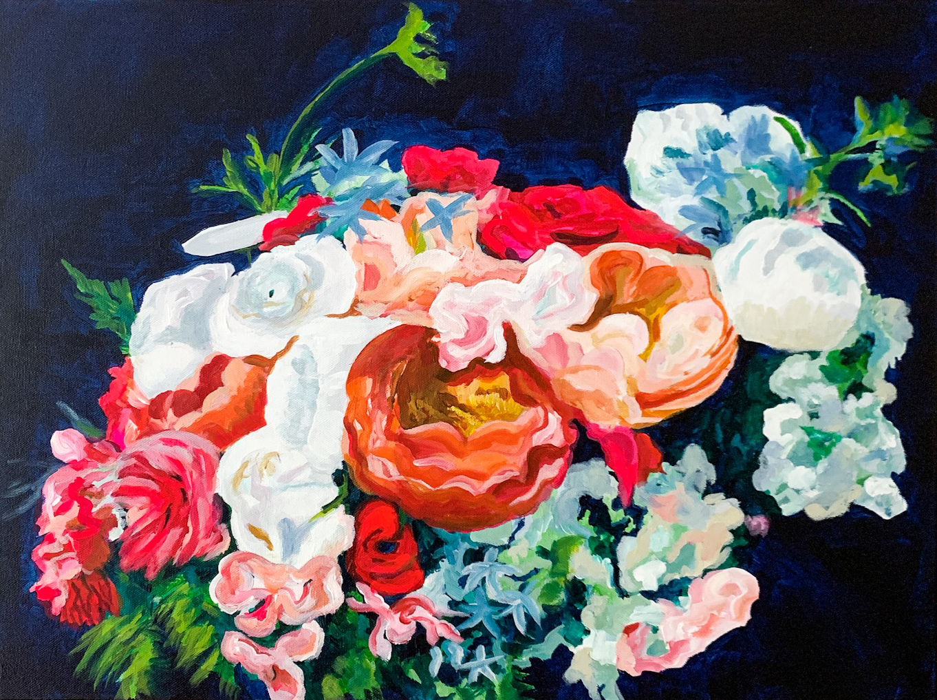 wedding bouquet painting by Megan Carty