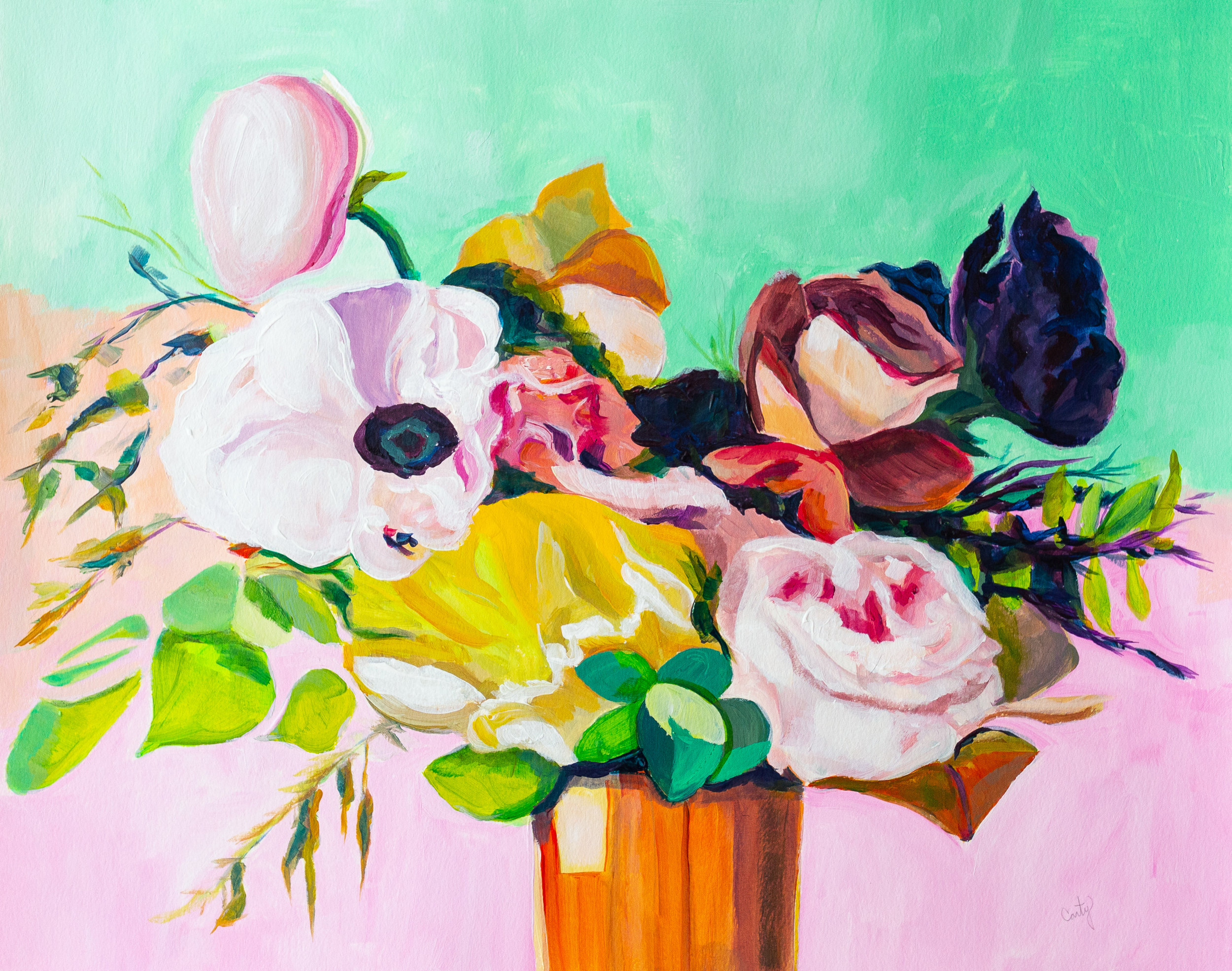 wedding bouquet painting portrait by Megan Carty