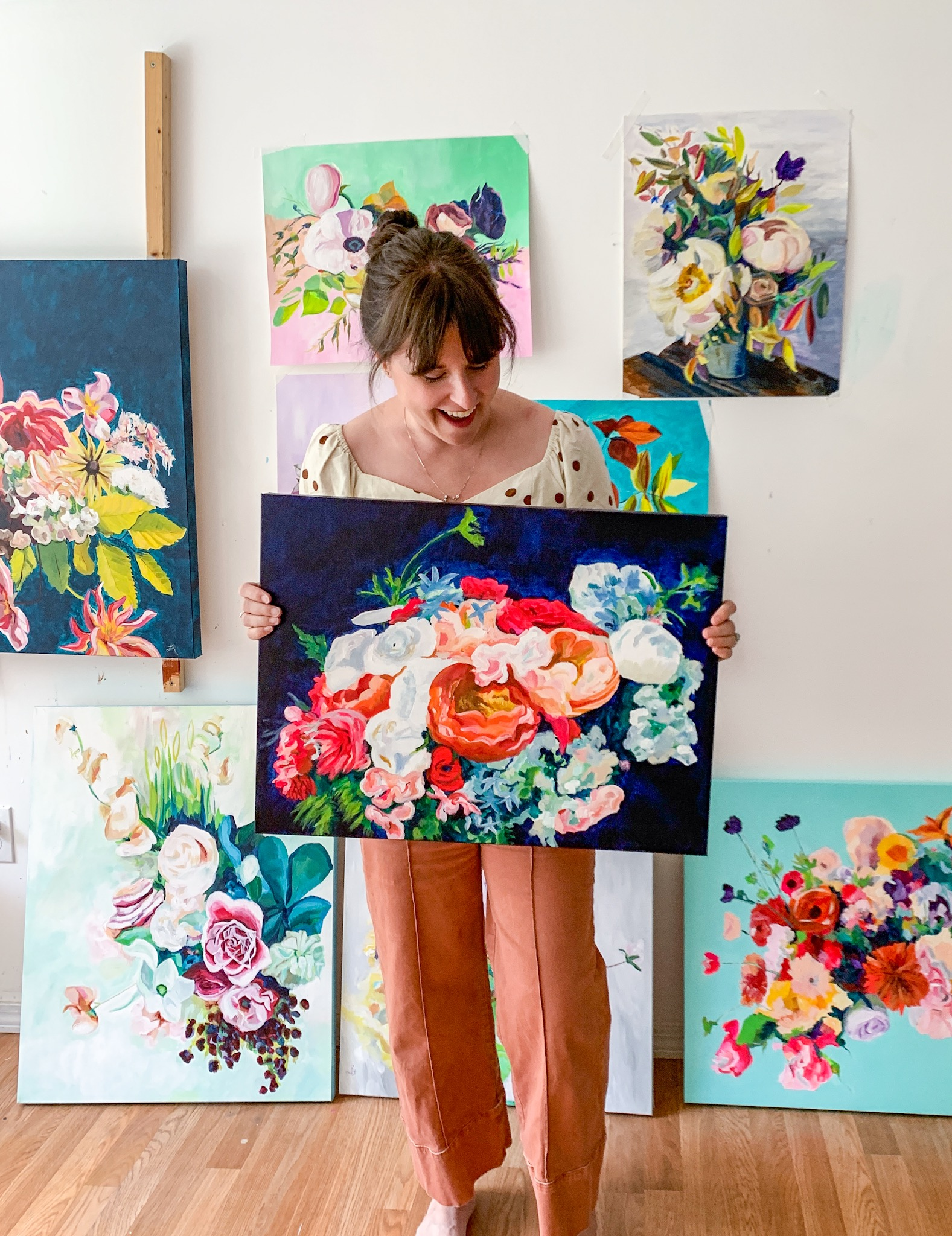 wedding bouquet and floral paintings by Megan Carty