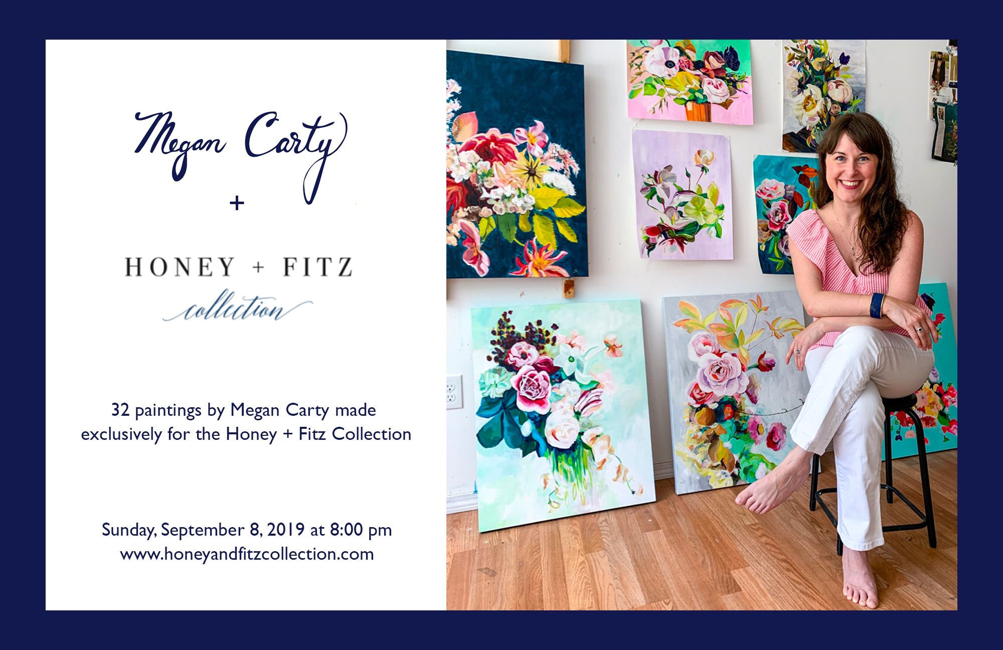 floral paintings for Honey & Fitz by Megan Carty