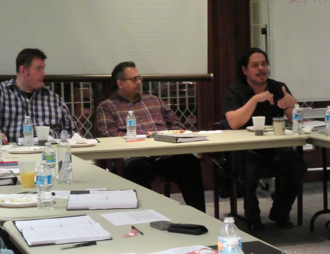 Playwright Jamil Khoury, Silk Road Rising Executive Director Malik Gillani and director Edward Torres