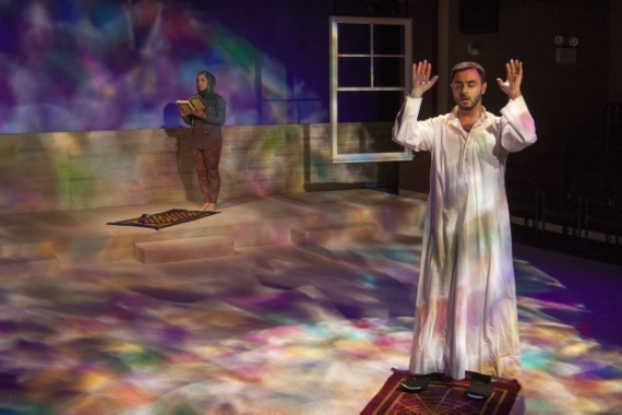 """A scene from the new play """"Mosque Alert"""" with actors Sahar Dika, left, and Frank Sawa"""