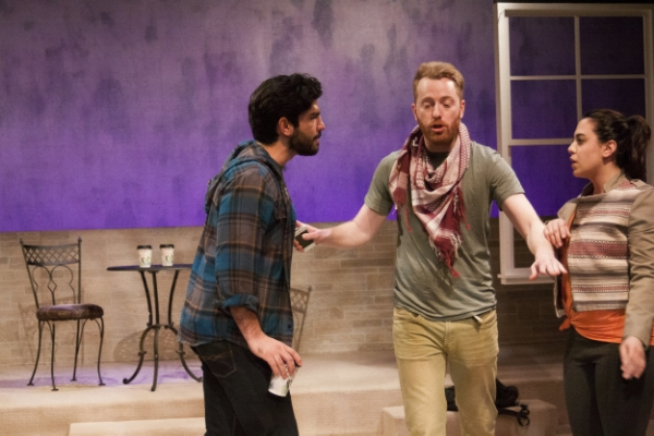 "Andrew L. Saenz (from left), Riley McIlveen and Sahar Dika in ""Mosque Alert"" at Silk Road Rising. (Photo: Airan Wright)"