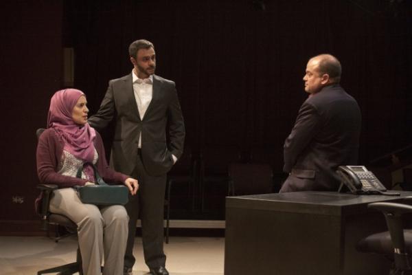Amy J. Carle (left) as Aisha Khalil, Frank Sawa (center) as Mostafa Khalil and Steve Silver (right) as Daniel Baker