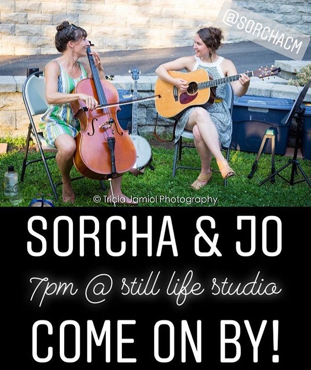 Tonight! Come see this lovely duo at the studio. There will be great music and wine and possibly a dog in costume. 🤗🎻🍷#houseconcert #portlandmaine @sorchacm