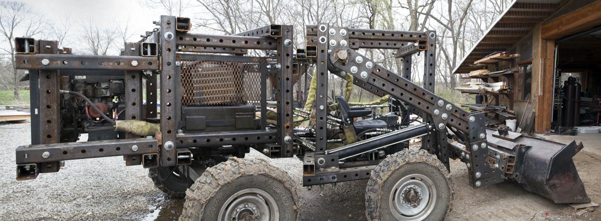 "Tractor with Powercubes (pano), Missouri, c-print (17"" x 30"") 2014"