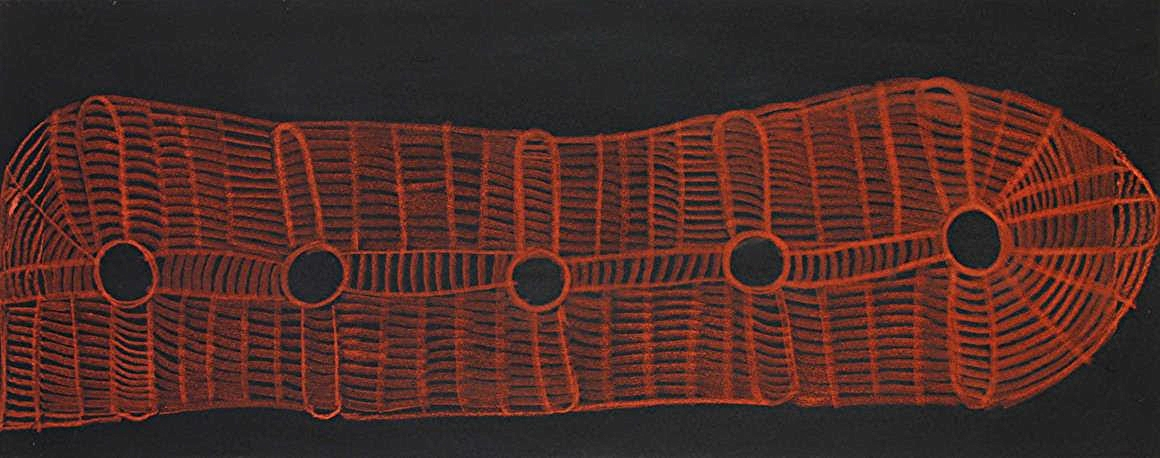 Below: Martha McDonald Napaltjarri, Warlukuritji, 2016, acrylic on linen, 122 x 46 cm