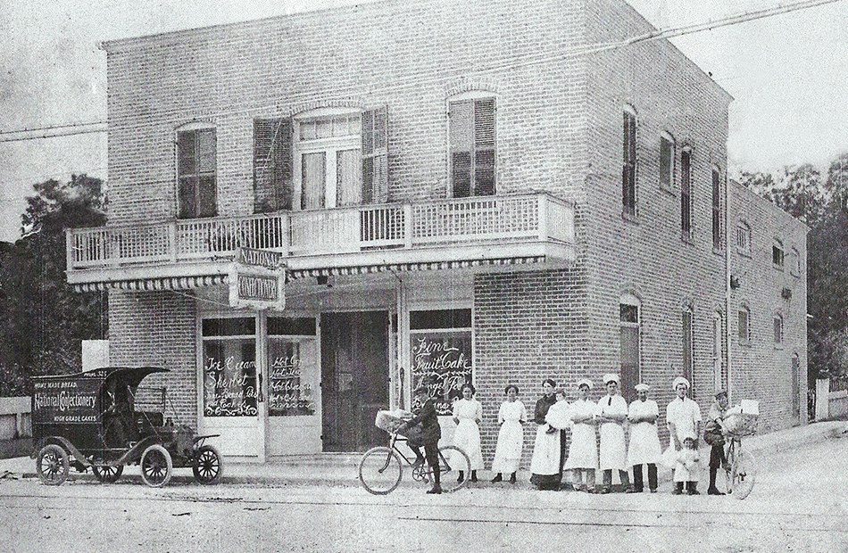 Historic image of The National Confectionery taken in the year 1915. Photo taken in Biloxi, Mississippi.