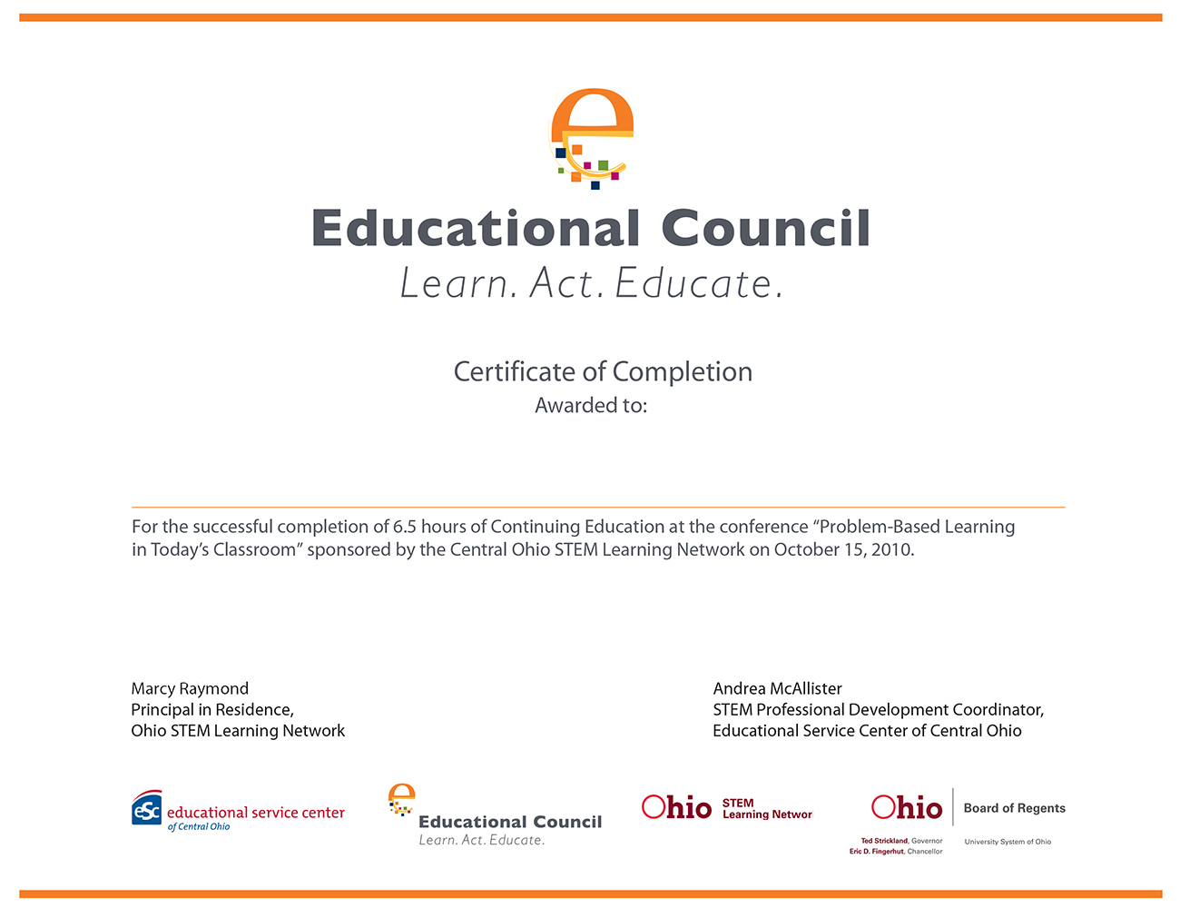 Education Council Foundation award certificate.