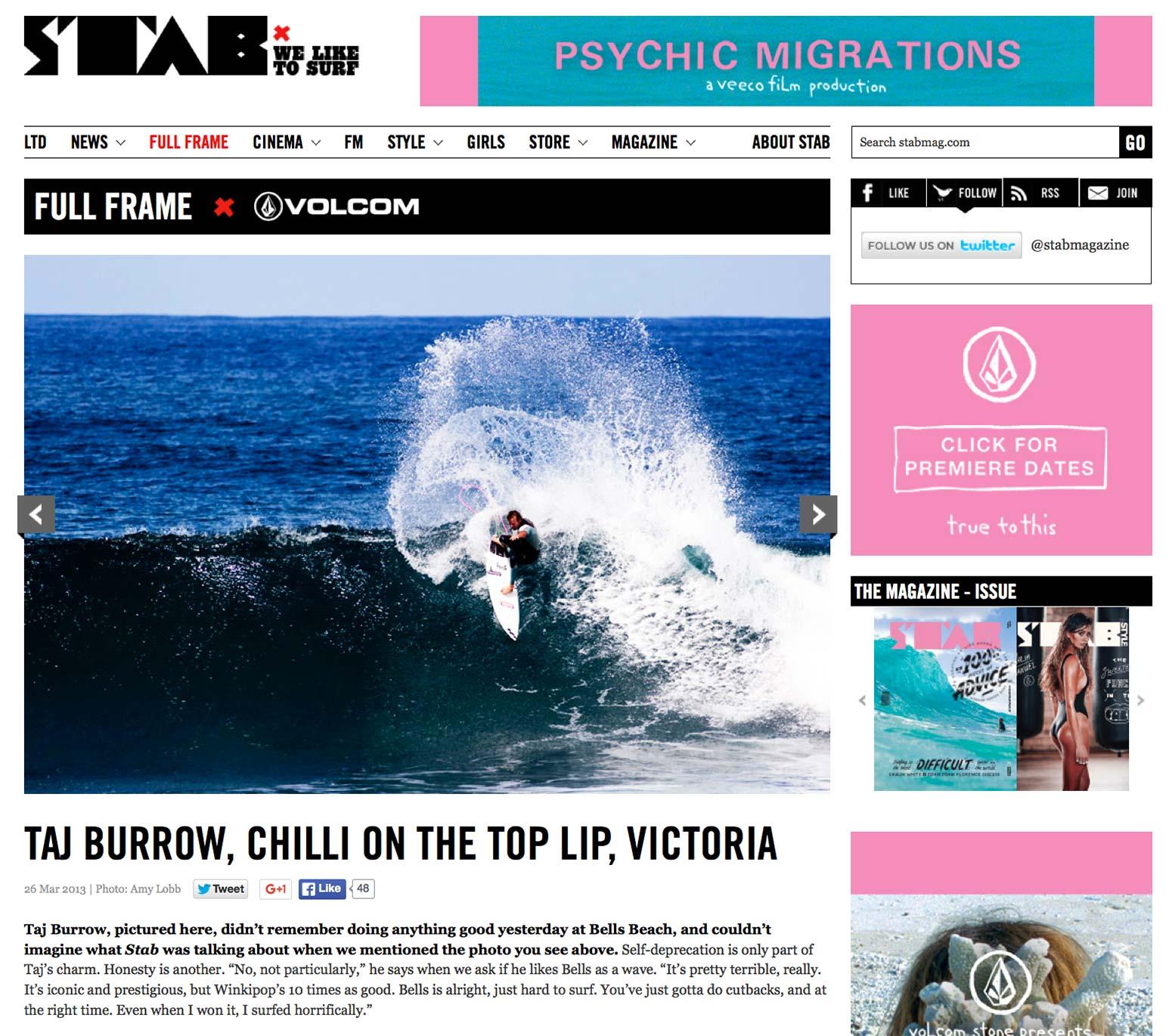 Stab Magazine website, Full Frame, March 2013
