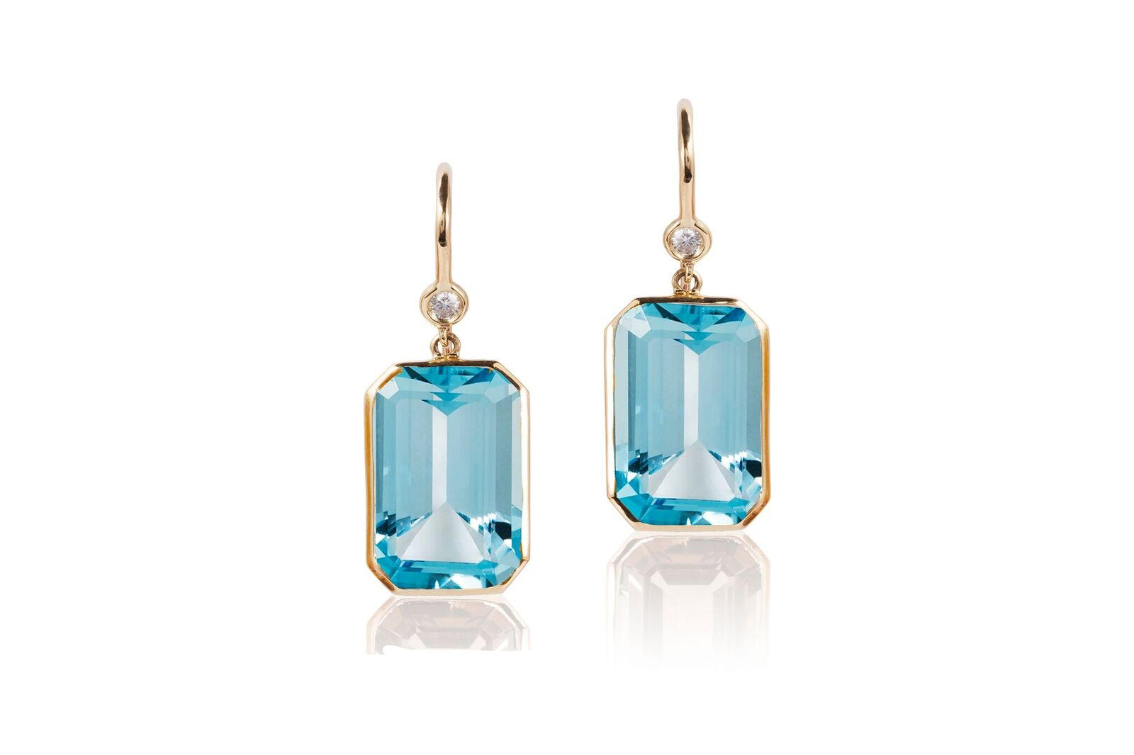 Emerald-cut Blue Topaz and Diamond Drop Earrings