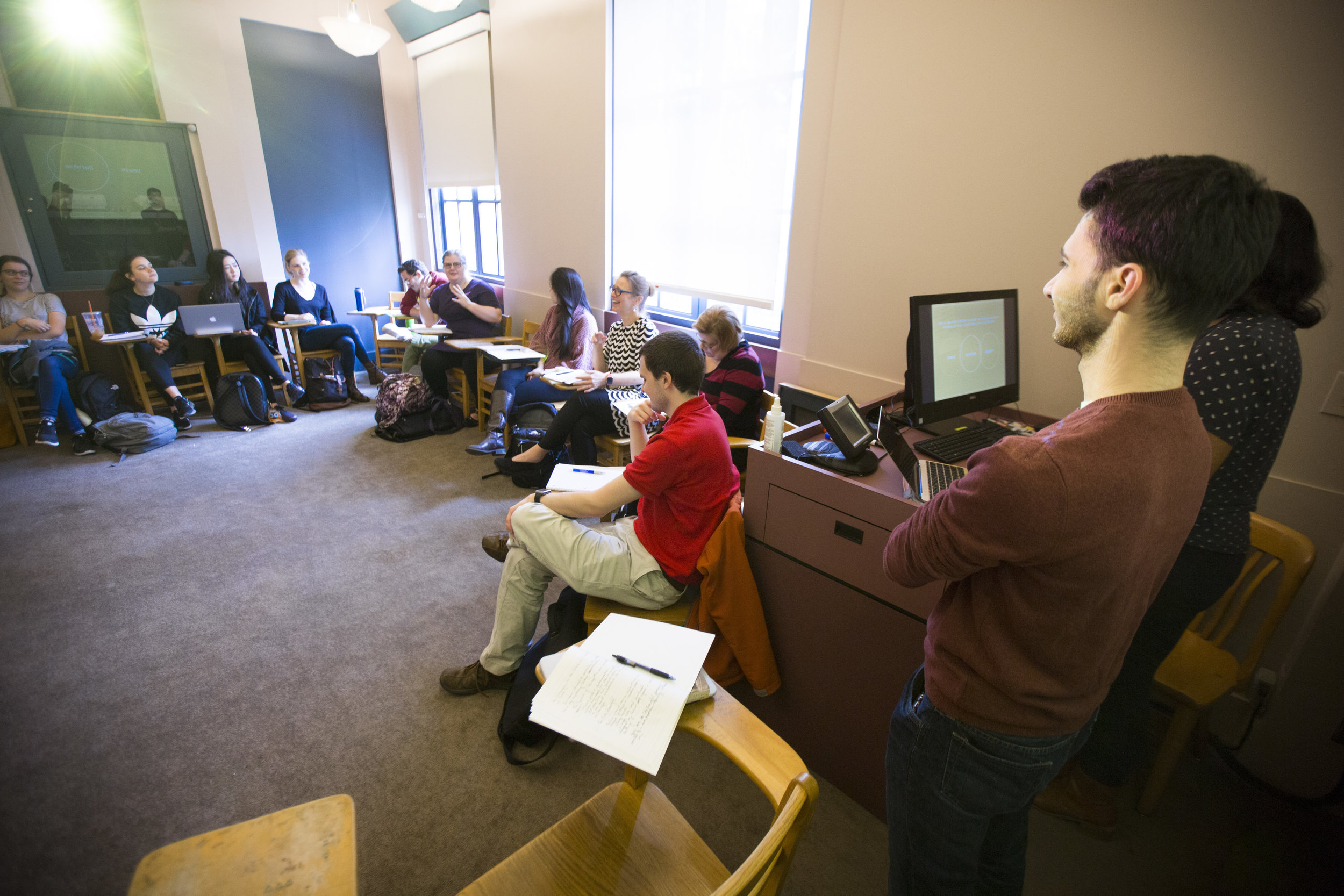 Student discussion leaders get the class talking in  The Architect and the City.  Emory Photo/Video.
