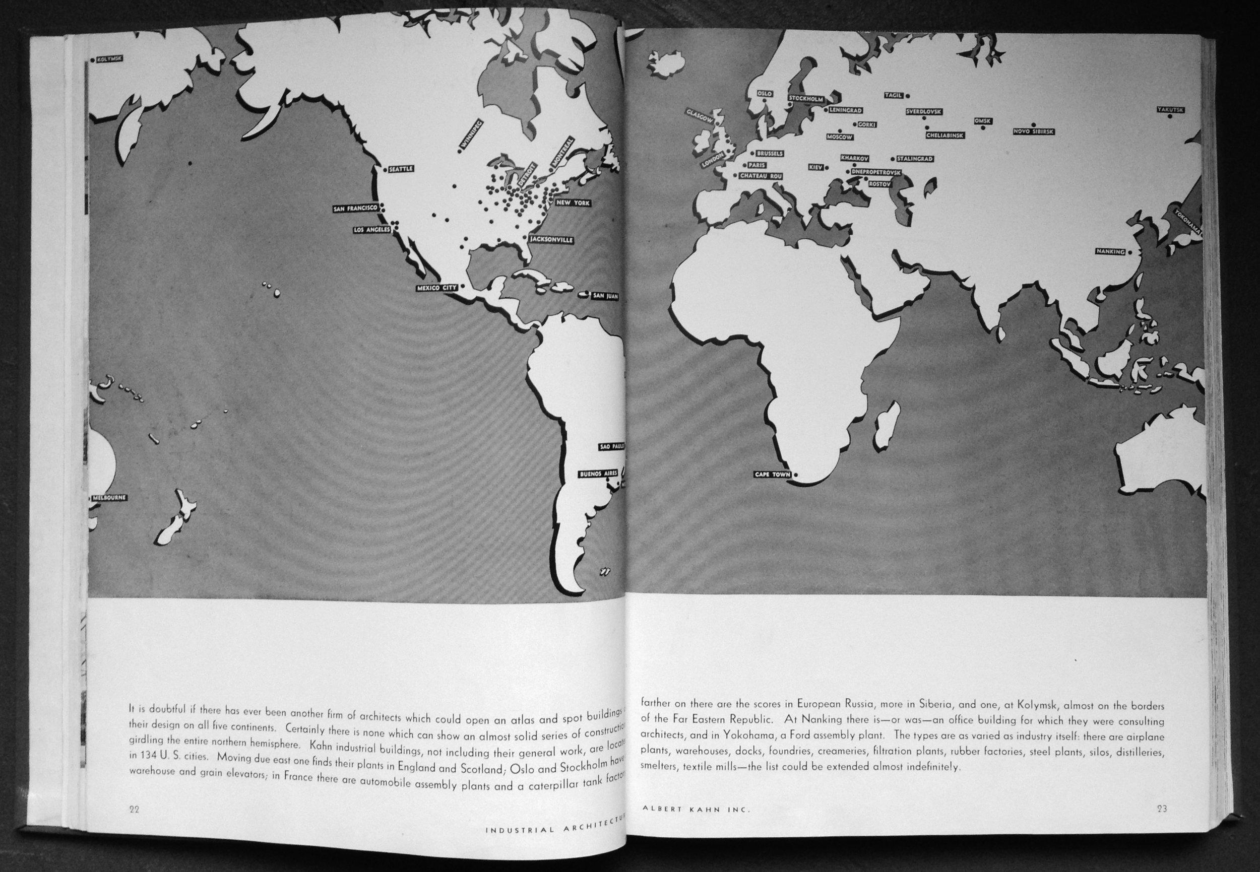 "Albert Kahn ""world domination map""   Industrial Architecture of Albert Kahn, Inc ., George Nelson, 1939"