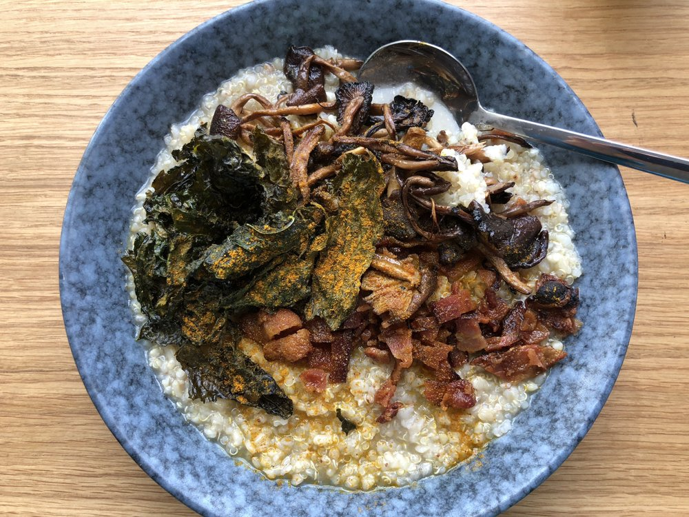 Savory Porridge with Kale, Mushrooms and Housemade Farmers Cheese