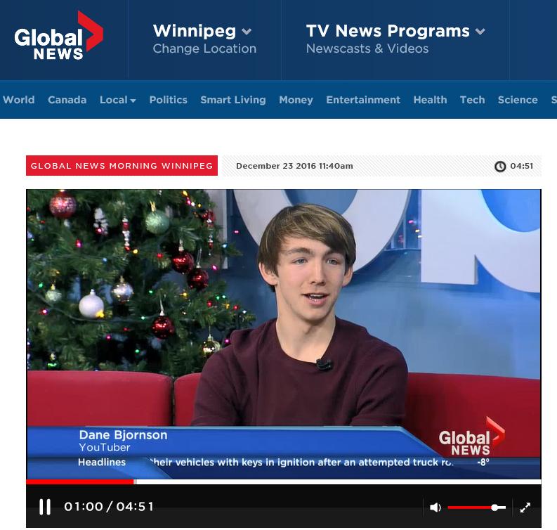 Dane on Global TV