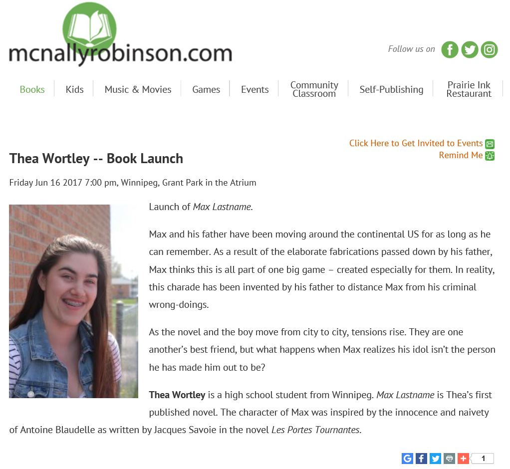 Thea Wortley's McNally Robinson Book Lauch