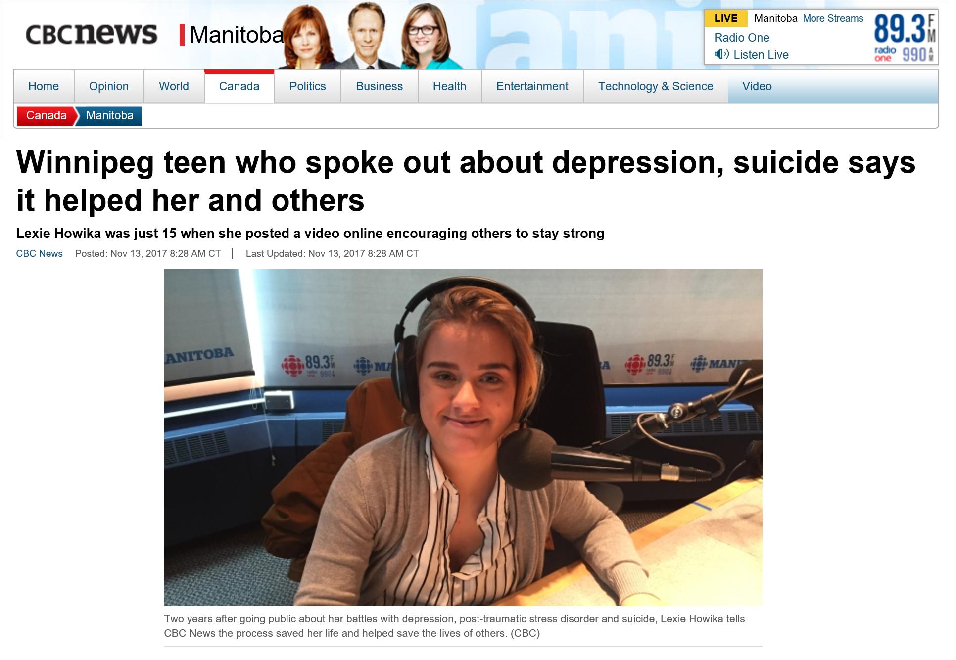 Lexie - Mental Health Journey - CBC Radio