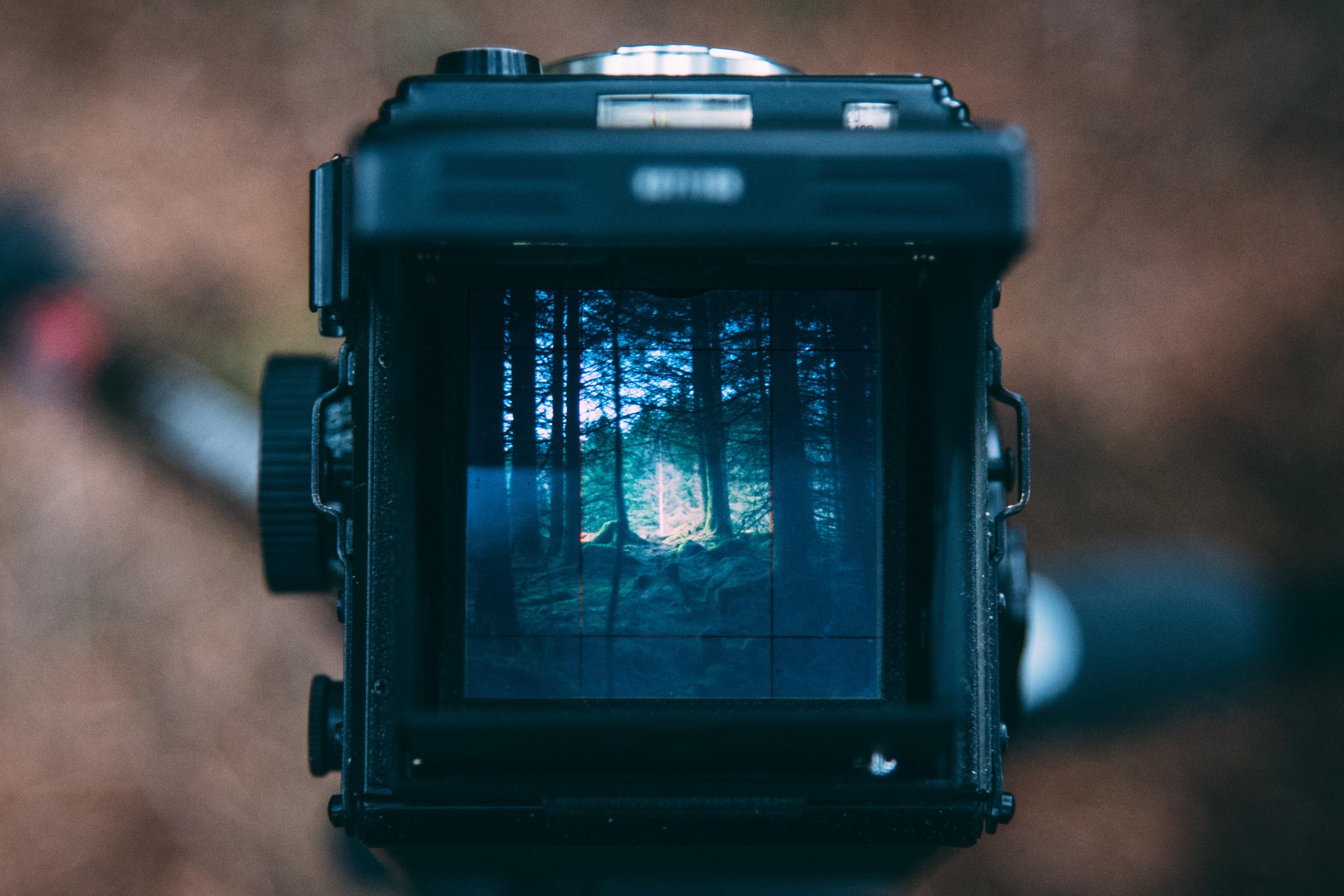 A YashicaMat-124g shooting 60x60mm negatives.