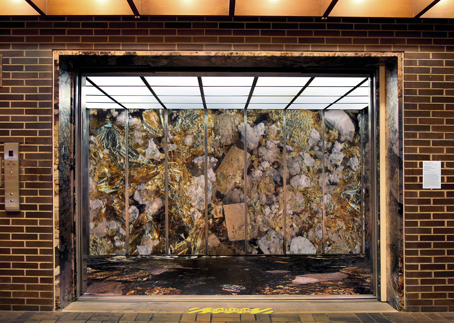 Interior installation view of Gold Mine at the Neuberger Museum of Art,  NY.