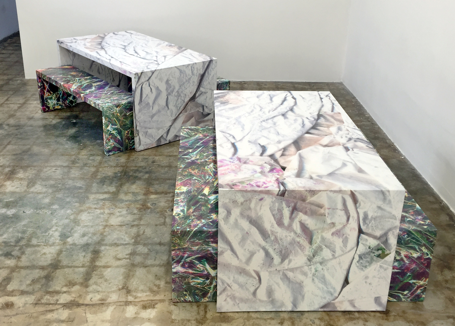 Tables and Benches / White on Iridescent and Iridescent.