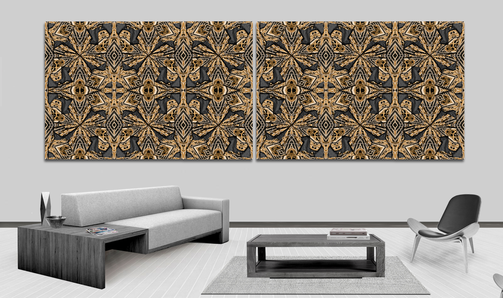 Metal Opulence shown here in two side by side wall panels.