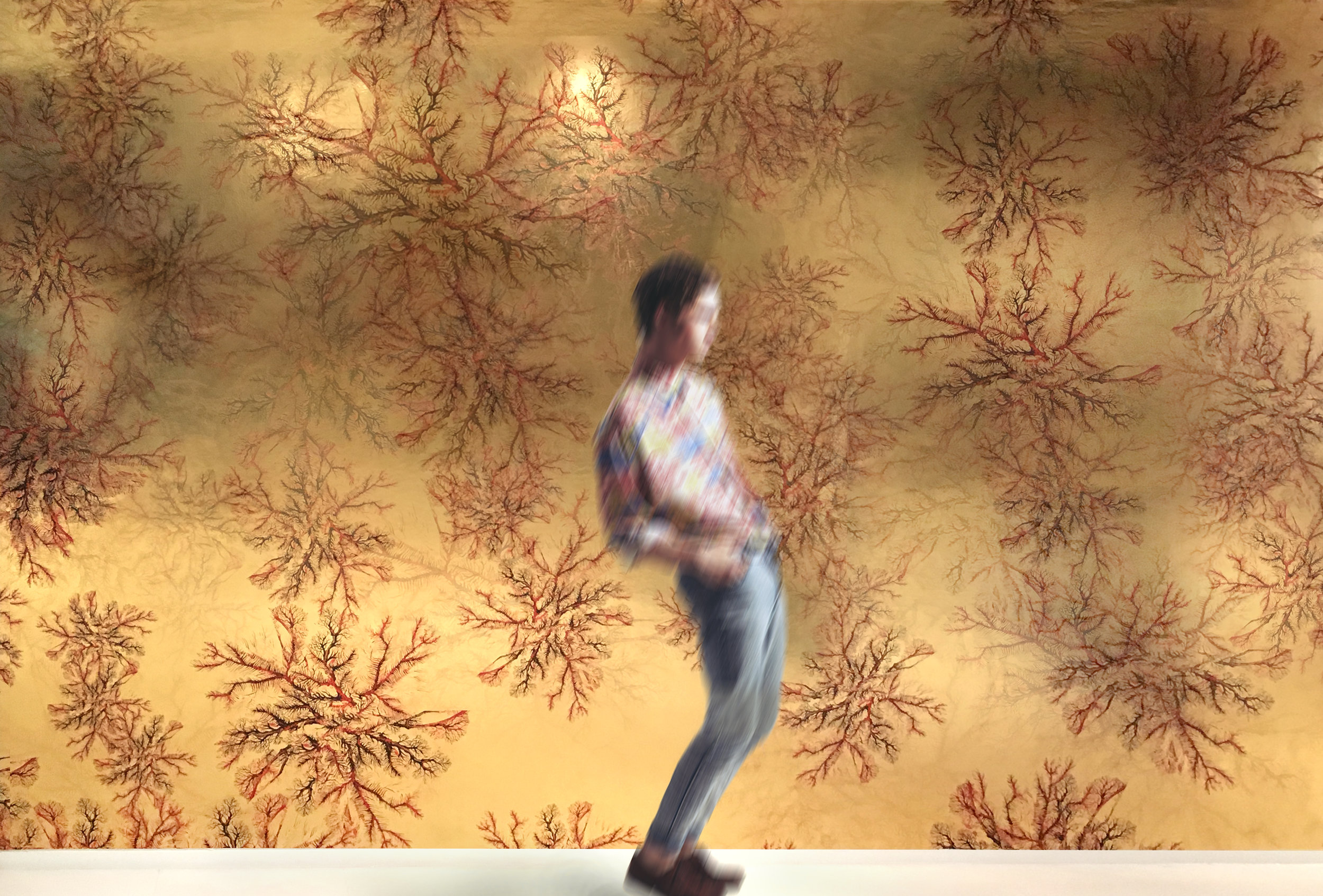 Mert Özgen  Coral Veins wallcovering (Gold metallic)  Available in minimums of 100 square feet.