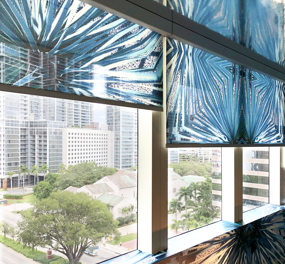 Glass Agave motorized shades in collaboration with Alva.