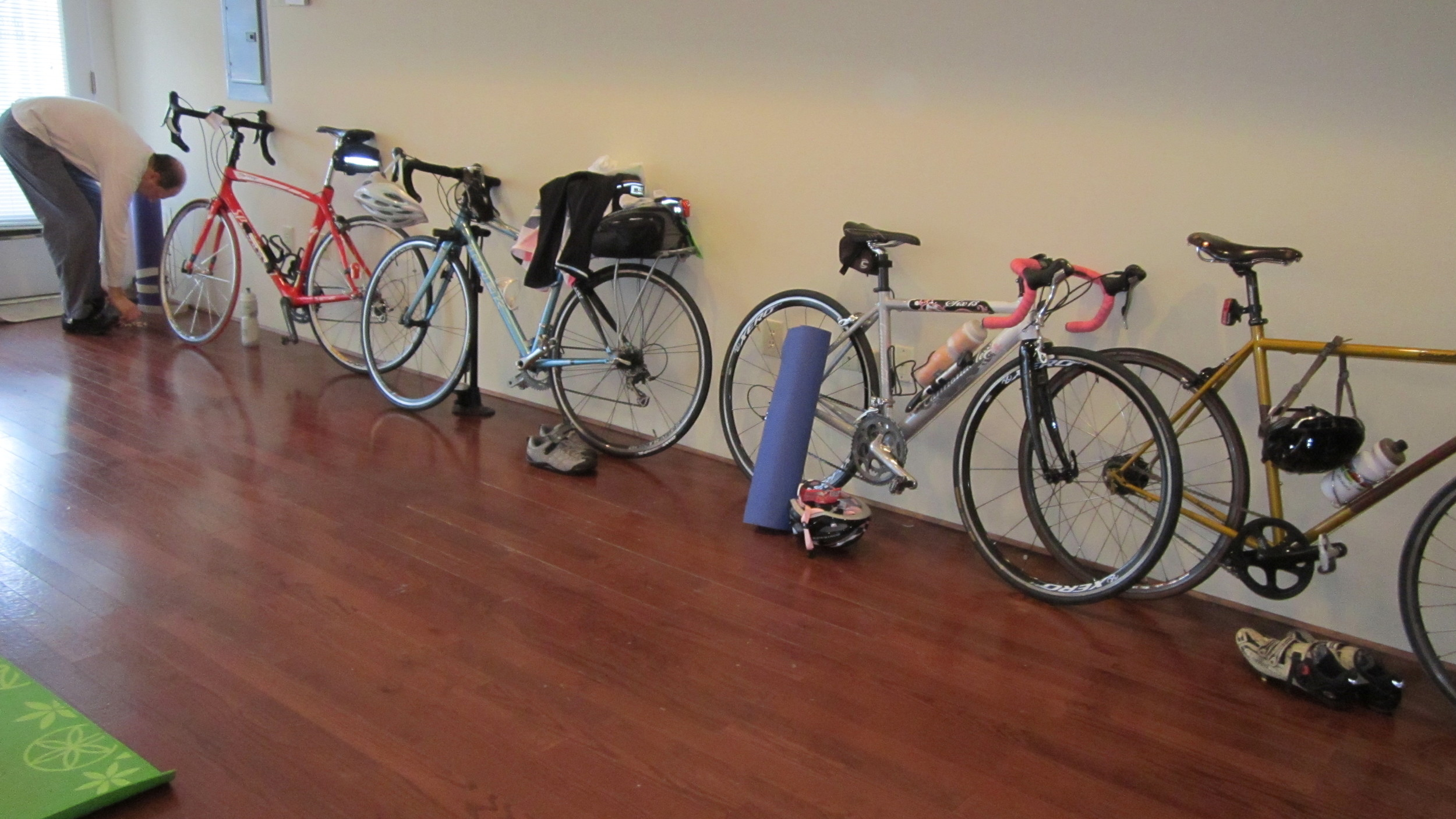 Bikes in my yoga studio yes, they are sports that go together beautifully.