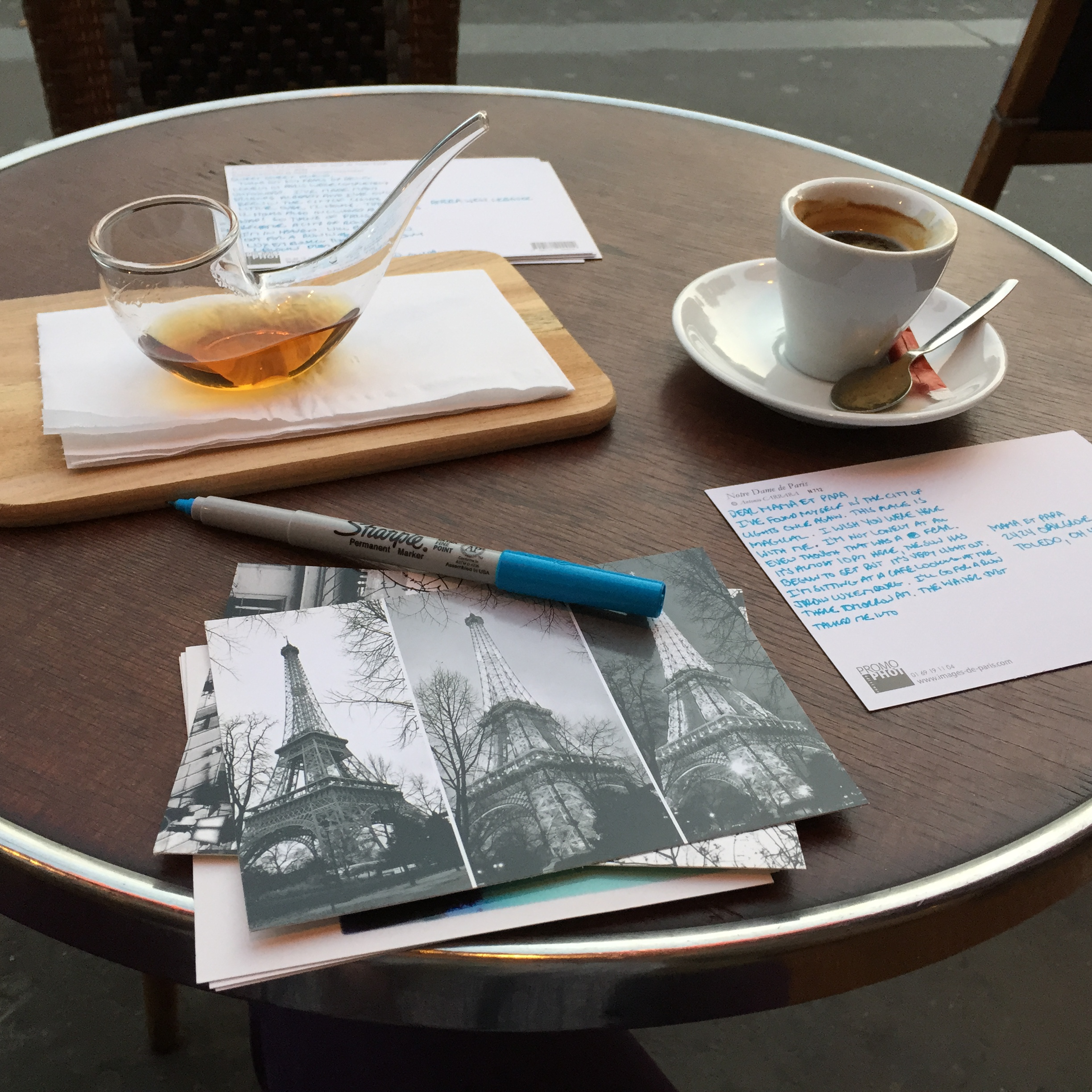 Sitting across from Le Jardin Luxembourg Sunday evening penning post cards to my peeps.