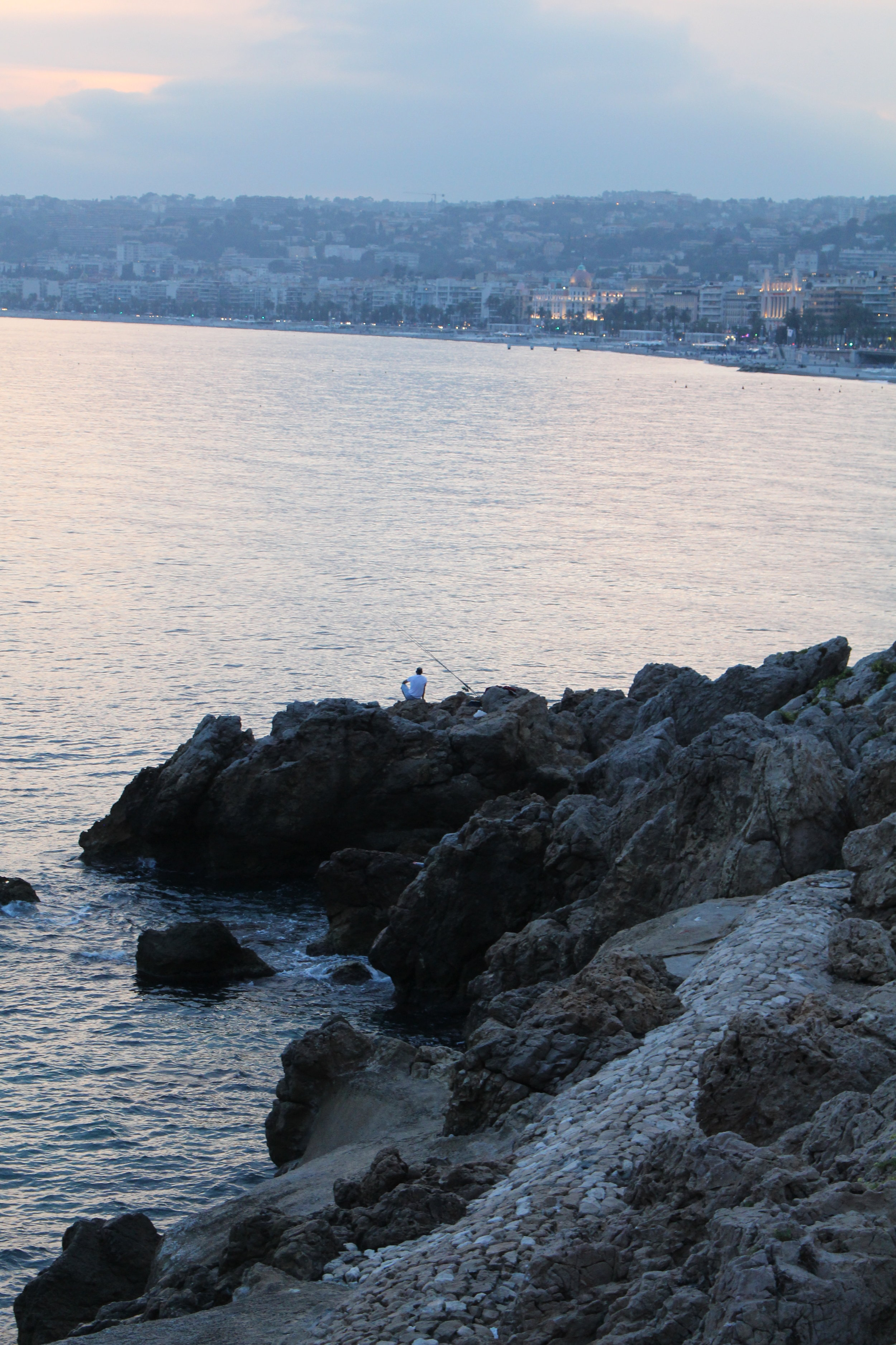 Fishing on the rocks, Nice France