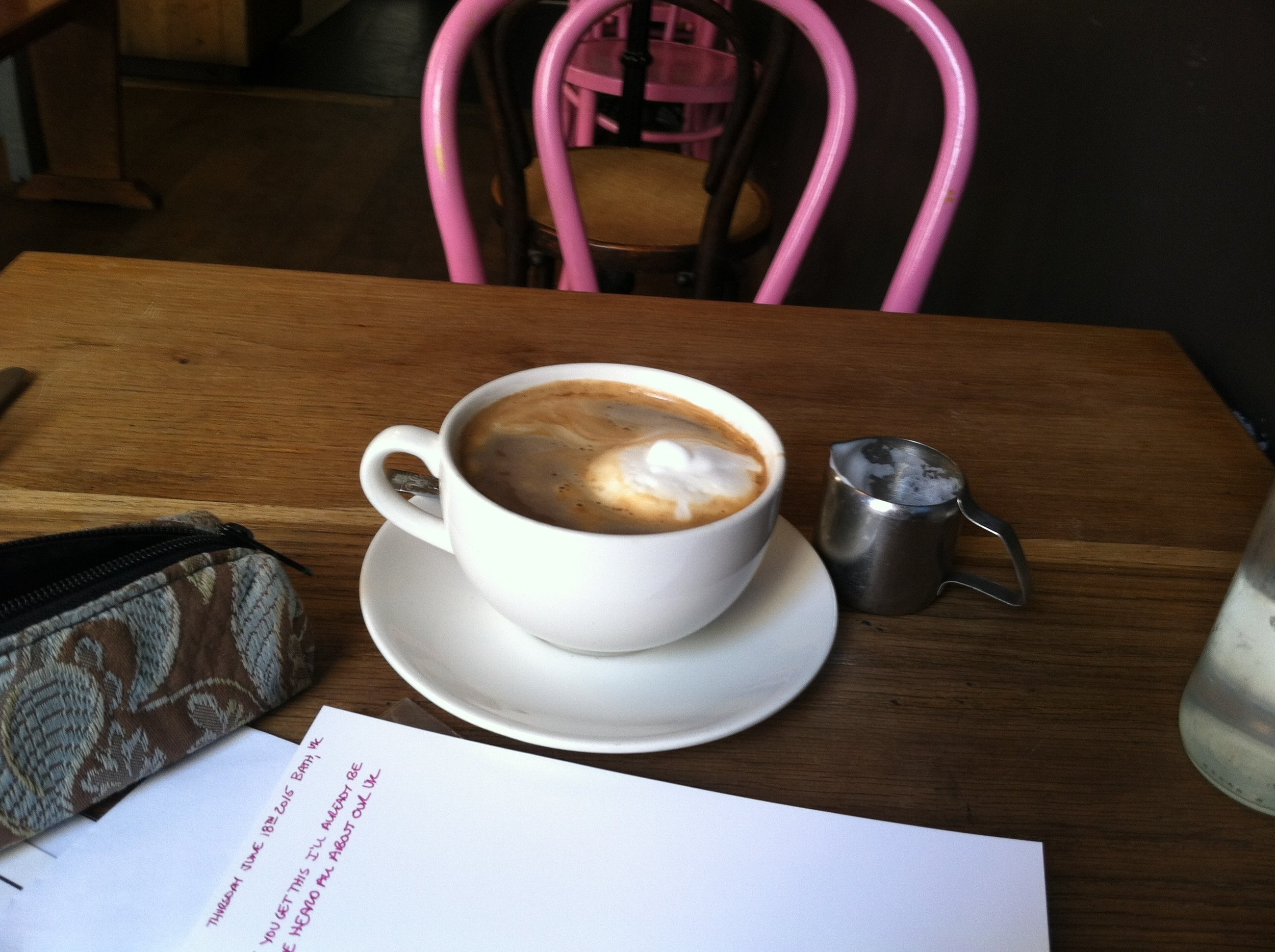 I take my writing tools with my everywhere.  Morning pages in Bath, UK 2015